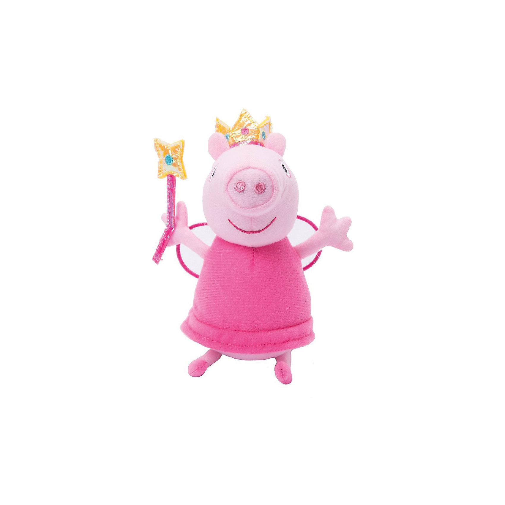 Мягягкая игрушка Пеппа Фея с палочкой, 20 см, Свинка ПеппаЛюбимые герои<br>Характеристики товара:<br><br>• высота : 20 см<br>• размер упаковки: 11х16х7 см<br>• материал: плюш, наполнитель, полиэстер<br>• возраст: от трех лет<br>• комплектация: 1 шт<br>• приятный на ощупь материал<br><br>Игрушка в виде любимого героя - желанный подарок для малыша! Такая мягкая игрушка сделана в виде Свинки Пеппы из мультфильма - а его современные девочки просто обожают. Игрушка очень качественно выполнена, с ней можно придумать множество игр! <br>Взаимодействие с мягкими игрушками помогает девочкам развивать важные социальные навыки и способности, она активизирует мышление, формирует умение заботиться о других, логику, мелкую моторику и воображение, помогает проработать сценарии взаимодействия с людьми. Изделие производится из качественных сертифицированных материалов, безопасных даже для самых маленьких.<br><br>Мягкую игрушку Пеппа Фея с палочкой, 20 см, Свинка Пеппа, можно купить в нашем интернет-магазине.<br><br>Ширина мм: 160<br>Глубина мм: 100<br>Высота мм: 75<br>Вес г: 59<br>Возраст от месяцев: 36<br>Возраст до месяцев: 2147483647<br>Пол: Женский<br>Возраст: Детский<br>SKU: 5219483