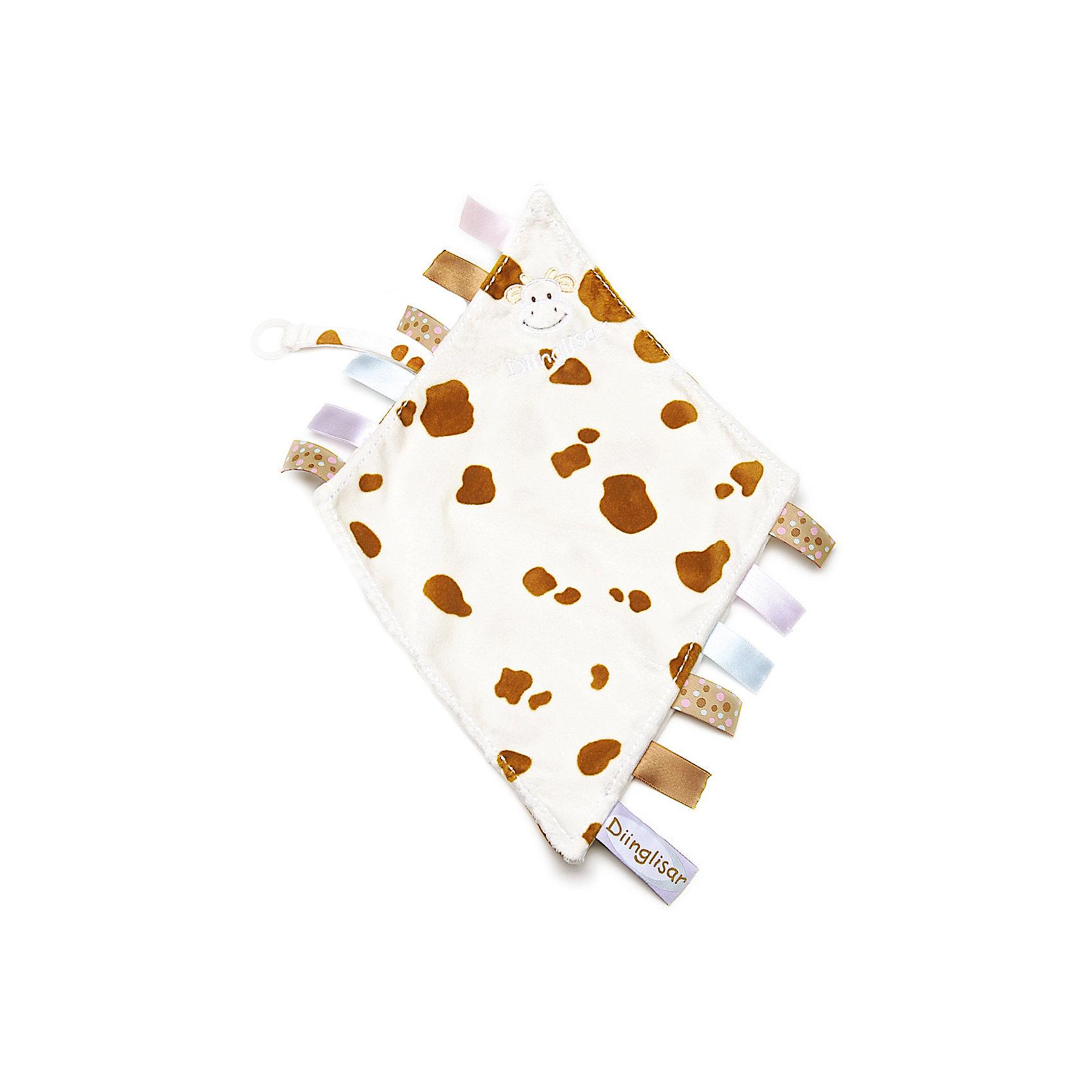 Держатель для соски-салфетка Корова, ДинглисарХарактеристики игрушки Teddykompaniet: <br><br>• размер держателя-салфетки: 24х23 см;<br>• материал: 100% хлопок (безворсовый велюр) – салфетка; пластик – кольцо-держатель;<br>• серия: Динглисар;<br>• тип крепления: кольцо-держатель.<br><br>Держатель-салфетка с вышитой мордочкой коровки декорирован атласными ленточками по бокам изделия, на мягкой тесемке закреплен пластиковый карабинчик для пустышки. Малыш может теребить салфетку в ручках, использовать ее на этапе прорезывания зубок – материл отлично впитывает влагу. В процессе игры развивается мелкая моторика ручек, тактильное восприятие, зрительный анализатор. <br><br>Держатель для соски-салфетка Корова, Динглисар можно купить в нашем интернет-магазине.<br><br>Ширина мм: 50<br>Глубина мм: 100<br>Высота мм: 100<br>Вес г: 210<br>Возраст от месяцев: 0<br>Возраст до месяцев: 12<br>Пол: Унисекс<br>Возраст: Детский<br>SKU: 5219502