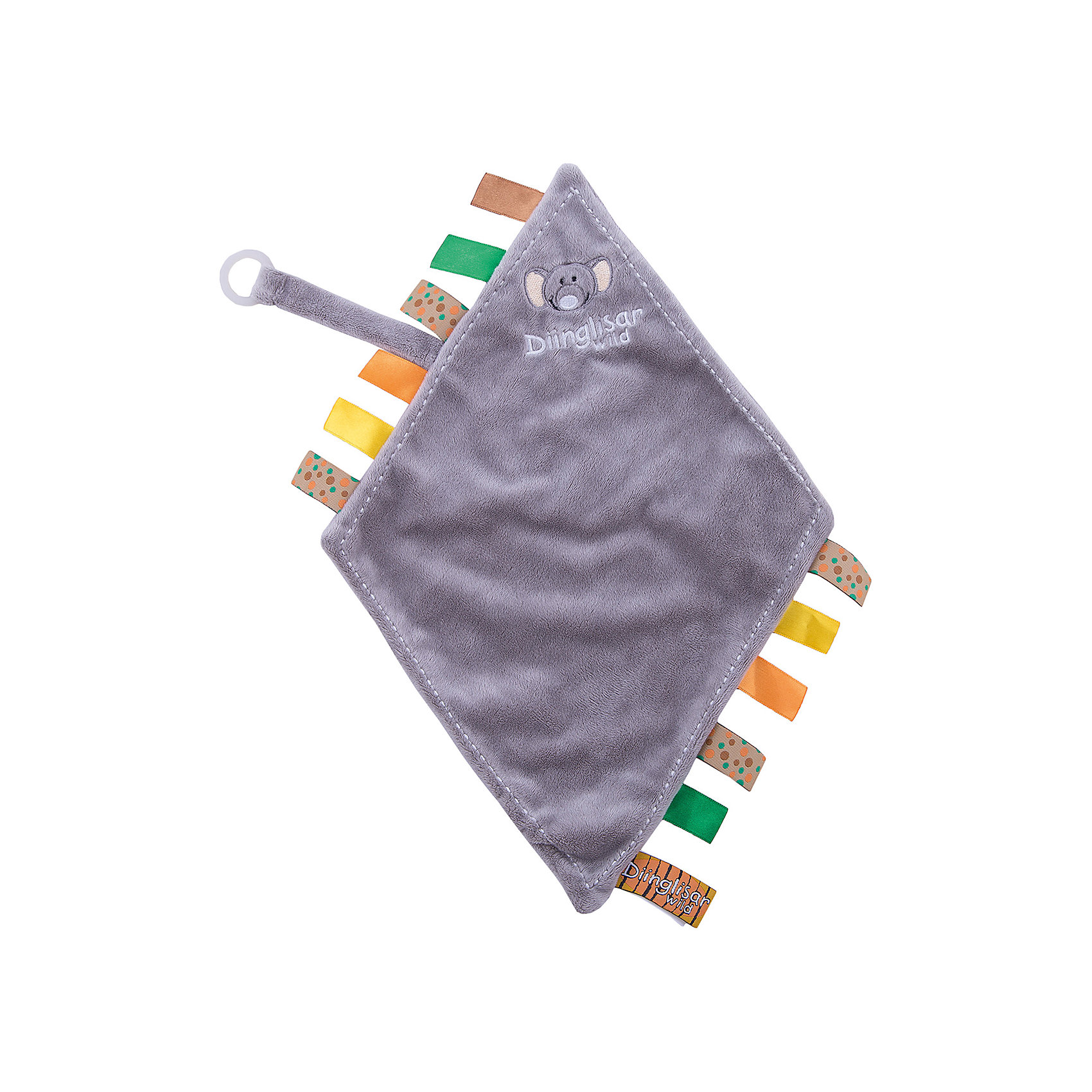 Держатель для соски-салфетка Слон, ДинглисарПустышки и аксессуары<br>Характеристики игрушки Teddykompaniet: <br><br>• размер держателя-салфетки: 24х23 см;<br>• материал: 100% хлопок (безворсовый велюр) – салфетка; пластик – кольцо-держатель;<br>• серия: Динглисар;<br>• тип крепления: кольцо-держатель.<br><br>Держатель-салфетка с вышитой мордочкой слоненка декорирован атласными ленточками по бокам изделия, на мягкой тесемке закреплен пластиковый карабинчик для пустышки. Малыш может теребить салфетку в ручках, использовать ее на этапе прорезывания зубок – материл отлично впитывает влагу. В процессе игры развивается мелкая моторика ручек, тактильное восприятие, зрительный анализатор. <br><br>Держатель для соски-салфетка Слон, Динглисар можно купить в нашем интернет-магазине.<br><br>Ширина мм: 50<br>Глубина мм: 100<br>Высота мм: 100<br>Вес г: 210<br>Возраст от месяцев: 0<br>Возраст до месяцев: 12<br>Пол: Унисекс<br>Возраст: Детский<br>SKU: 5219504