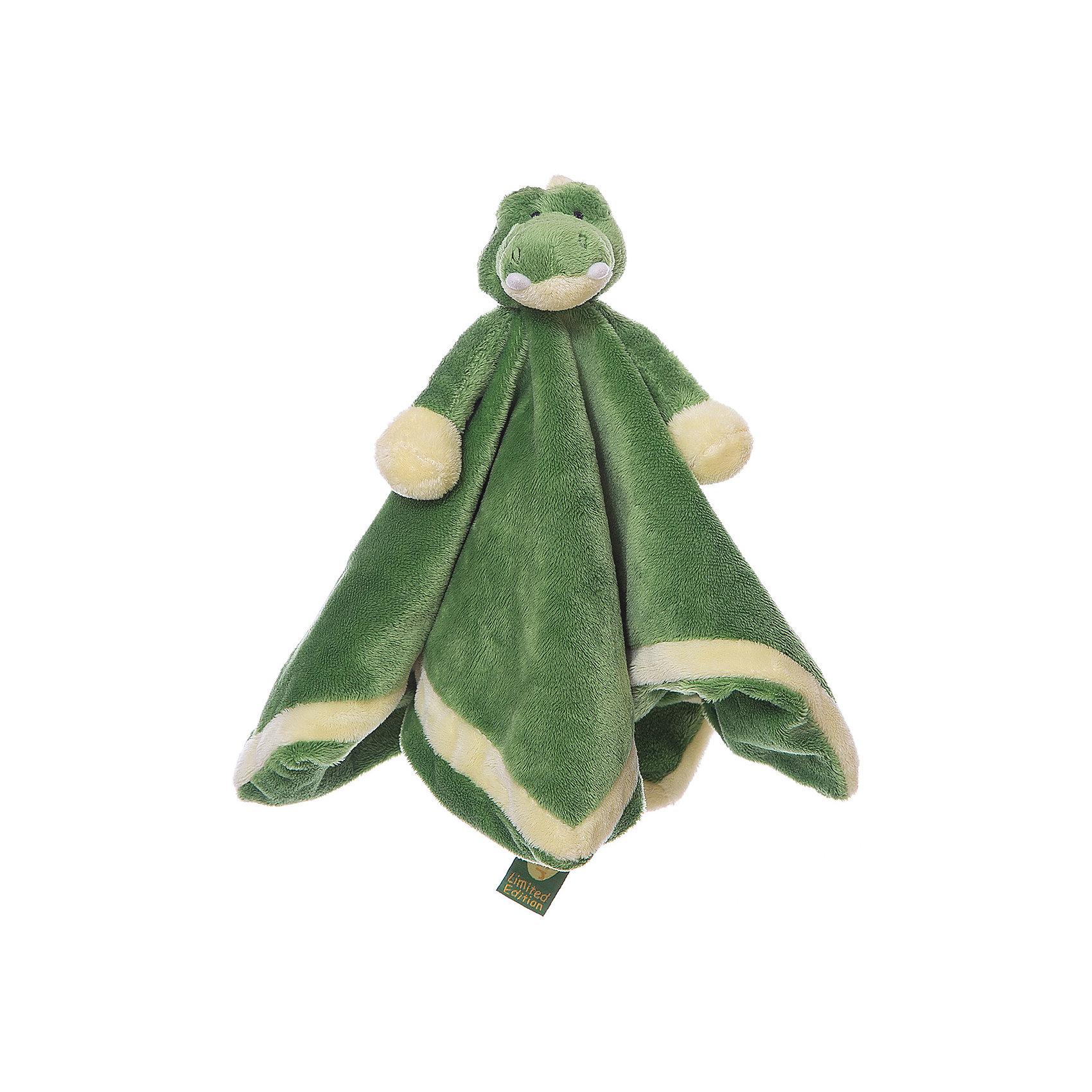 игрушка-салфетка Крокодил (LE), ДинглисарИгрушки-платочки<br>Характеристики мягкой игрушки Teddykompaniet: <br><br>• размер салфетки: 35х35 см;<br>• материал: 100% хлопок (безворсовый велюр);<br>• серия: Динглисар.<br><br>Мягкая велюровая салфетка для малышей декорирована объемной мордочкой крокодильчика, которая находится в центре салфетки. Малыш теребит салфетку в ручках, прикосновения к мягкому велюровому материалу развивают тактильное восприятие крохи. Салфетка хорошо впитывает влагу, ее можно использовать на этапе прорезывания зубок, когда у малыша обильное слюноотделение. <br><br>В процессе игры развивается мелкая моторика пальчиков, цветовосприятие, тактильное восприятие. <br><br>Игрушку-салфетку Крокодил, Динглисар можно купить в нашем интернет-магазине.<br><br>Ширина мм: 100<br>Глубина мм: 50<br>Высота мм: 100<br>Вес г: 100<br>Возраст от месяцев: 0<br>Возраст до месяцев: 12<br>Пол: Унисекс<br>Возраст: Детский<br>SKU: 5219516