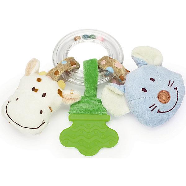Погремушка-прорезыватель Корова и Мышь, ДинглисарПустышки<br>Характеристики прорезывателя-кольца с погремушкой Teddykompaniet: <br><br>• тип игрушки: прорезыватель-кольцо с погремушкой;<br>• размер: 17 см;<br>• материал: 100% хлопок (безворсовый велюр), пластик;<br>• серия: Динглисар.<br><br>Прозрачное кольцо заполнено разноцветными шариками, которые создают мелодичный перезвон при встряхивании погремушки. <br>Прорезыватель помогает малышу массажировать воспаленные десны на этапе прорезывания зубов. Прорезыватель имеет рельефную поверхность. <br>Мягкие игрушки с мордочками животных, которые ласково улыбаются малышу, выполнены из гипоаллергенного материала, приятного на ощупь. <br><br>Погремушку-прорезыватель Корова и Мышь, Динглисар можно купить в нашем интернет-магазине.<br>Ширина мм: 100; Глубина мм: 50; Высота мм: 100; Вес г: 100; Возраст от месяцев: 0; Возраст до месяцев: 12; Пол: Унисекс; Возраст: Детский; SKU: 5219524;