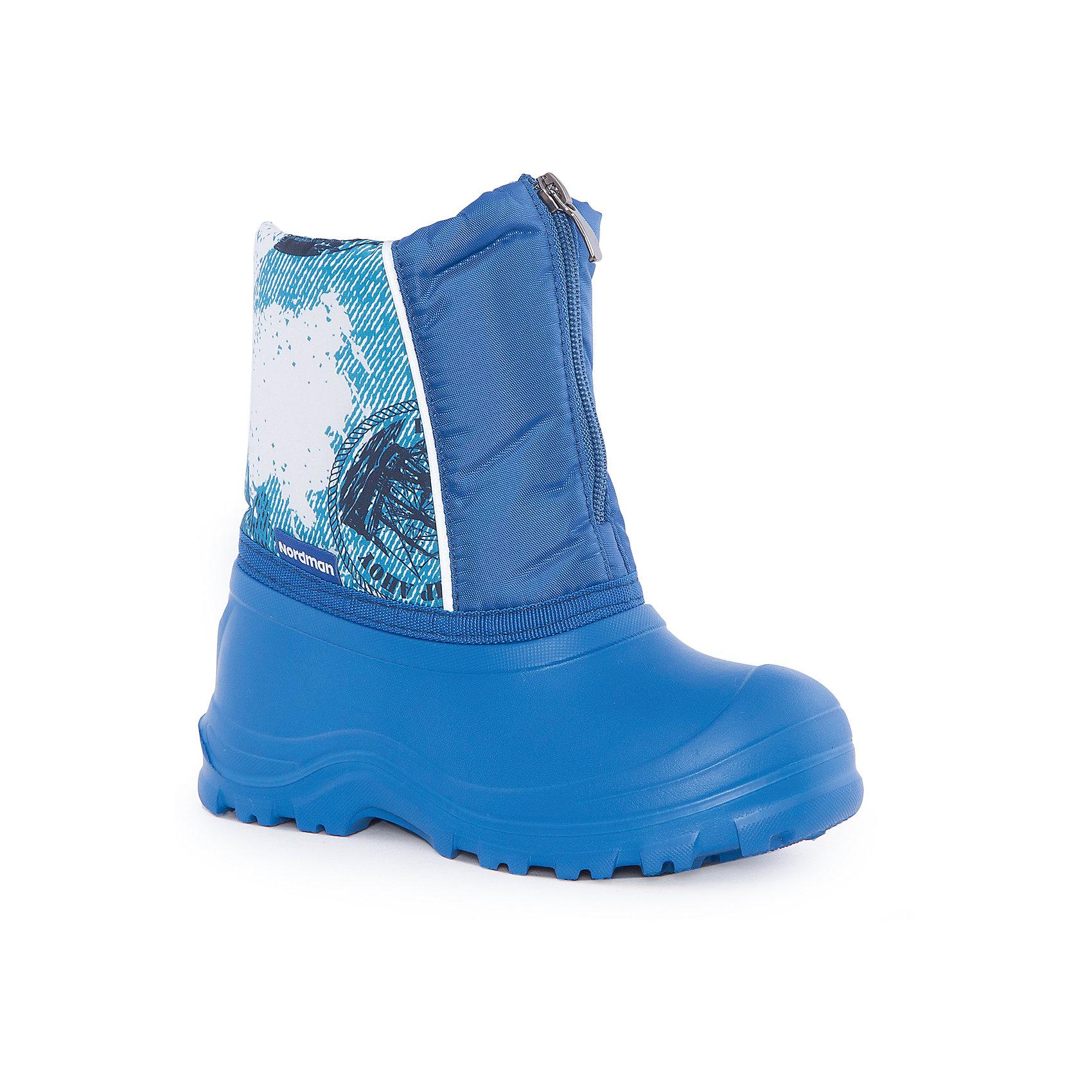 Сапоги для мальчика NordmanХарактеристики товара:<br><br>• цвет: синий<br>• материал верха: текстиль<br>• материал подкладки: поролон, мех<br>• материал подошвы: ЭВА<br>• подошва не скользит<br>• застежка: молния<br>• температурный режим: от -15° до +5° С<br>• верх с водоотталкивающей пропиткой<br>• толстая устойчивая подошва<br>• низ не промокает<br>• страна бренда: Российская Федерация<br>• страна изготовитель: Российская Федерация<br><br>При выборе демисезонной и зимней обуви для ребенка необходимо убедиться, что она удобная и теплая. Такие сапожки обеспечат детям комфорт даже в мороз, а непромокающая нижняя часть  оставит ножки в сухости. Сапожки легко снимаются и надеваются, хорошо сидят на ноге. Внутри - специальная теплая подкладка, с которой холода не страшны!<br>Обувь от бренда Nordman - это качественные российские товары, произведенные с применением как натуральных, так и высокотехнологичных материалов. Обувь выделяется стильным дизайном и проработанными деталями. Полностью адаптирована под российскую погоду! Изделие производится из качественных и проверенных материалов, которые безопасны для детей.<br><br>Сапоги для мальчика от бренда Nordman можно купить в нашем интернет-магазине.<br><br>Ширина мм: 257<br>Глубина мм: 180<br>Высота мм: 130<br>Вес г: 420<br>Цвет: синий<br>Возраст от месяцев: 132<br>Возраст до месяцев: 144<br>Пол: Мужской<br>Возраст: Детский<br>Размер: 32/33,34/35,30/31<br>SKU: 5219779