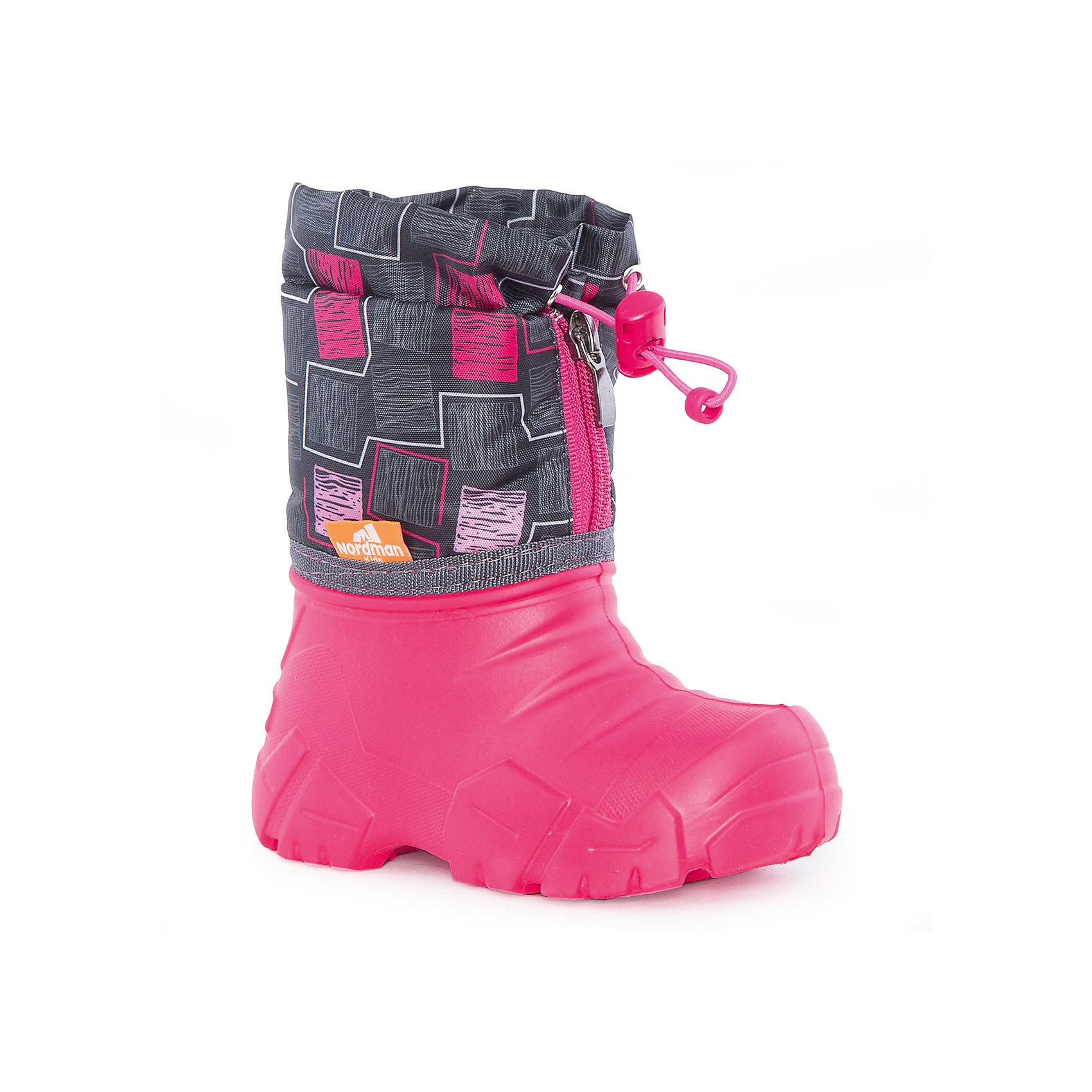 Сноубутсы для девочки NordmanСноубутсы<br>Характеристики товара:<br><br>• цвет: розовый<br>• материал верха: текстиль<br>• материал подкладки: шерстяной мех<br>• материал подошвы: ЭВА<br>• подошва не скользит<br>• застежка: молния<br>• температурный режим: от -10° до +10° С<br>• верх с водоотталкивающей пропиткой<br>• толстая устойчивая подошва<br>• низ не промокает<br>• страна бренда: Российская Федерация<br>• страна изготовитель: Российская Федерация<br><br>При выборе демисезонной и зимней обуви для ребенка необходимо убедиться, что она удобная и теплая. Такие сапожки обеспечат детям комфорт даже в мороз, а непромокающая нижняя часть  оставит ножки в сухости. Сапожки легко снимаются и надеваются, хорошо сидят на ноге. Внутри - специальная теплая подкладка, с которой холода не страшны!<br>Обувь от бренда Nordman - это качественные российские товары, произведенные с применением как натуральных, так и высокотехнологичных материалов. Обувь выделяется стильным дизайном и проработанными деталями. Полностью адаптирована под российскую погоду! Изделие производится из качественных и проверенных материалов, которые безопасны для детей.<br><br>Сапоги для девочки от бренда Nordman можно купить в нашем интернет-магазине.<br><br>Ширина мм: 257<br>Глубина мм: 180<br>Высота мм: 130<br>Вес г: 420<br>Цвет: розовый<br>Возраст от месяцев: 18<br>Возраст до месяцев: 21<br>Пол: Женский<br>Возраст: Детский<br>Размер: 22/23,34/35,24/25,26/27,28/29,30/31,32/33<br>SKU: 5219830