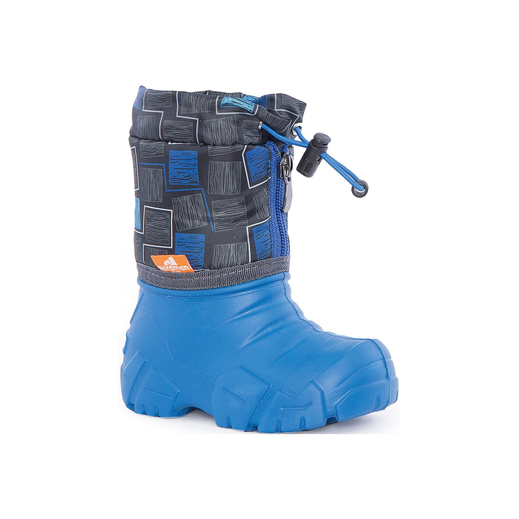 Сапоги Kids для мальчика NordmanХарактеристики товара:<br><br>• цвет: синий<br>• материал верха: текстиль<br>• материал подкладки: шерстяной мех<br>• материал подошвы: ЭВА<br>• подошва не скользит<br>• застежка: молния<br>• температурный режим: от -10° до +10° С<br>• верх с водоотталкивающей пропиткой<br>• толстая устойчивая подошва<br>• низ не промокает<br>• страна бренда: Российская Федерация<br>• страна изготовитель: Российская Федерация<br><br>При выборе демисезонной и зимней обуви для ребенка необходимо убедиться, что она удобная и теплая. Такие сапожки обеспечат детям комфорт даже в мороз, а непромокающая нижняя часть  оставит ножки в сухости. Сапожки легко снимаются и надеваются, хорошо сидят на ноге. Внутри - специальная теплая подкладка, с которой холода не страшны!<br>Обувь от бренда Nordman - это качественные российские товары, произведенные с применением как натуральных, так и высокотехнологичных материалов. Обувь выделяется стильным дизайном и проработанными деталями. Полностью адаптирована под российскую погоду! Изделие производится из качественных и проверенных материалов, которые безопасны для детей.<br><br>Сапоги для мальчика от бренда Nordman можно купить в нашем интернет-магазине.<br><br>Ширина мм: 257<br>Глубина мм: 180<br>Высота мм: 130<br>Вес г: 420<br>Цвет: синий<br>Возраст от месяцев: 18<br>Возраст до месяцев: 21<br>Пол: Мужской<br>Возраст: Детский<br>Размер: 24/25,22/23,34/35,32/33,30/31,28/29,26/27<br>SKU: 5219843