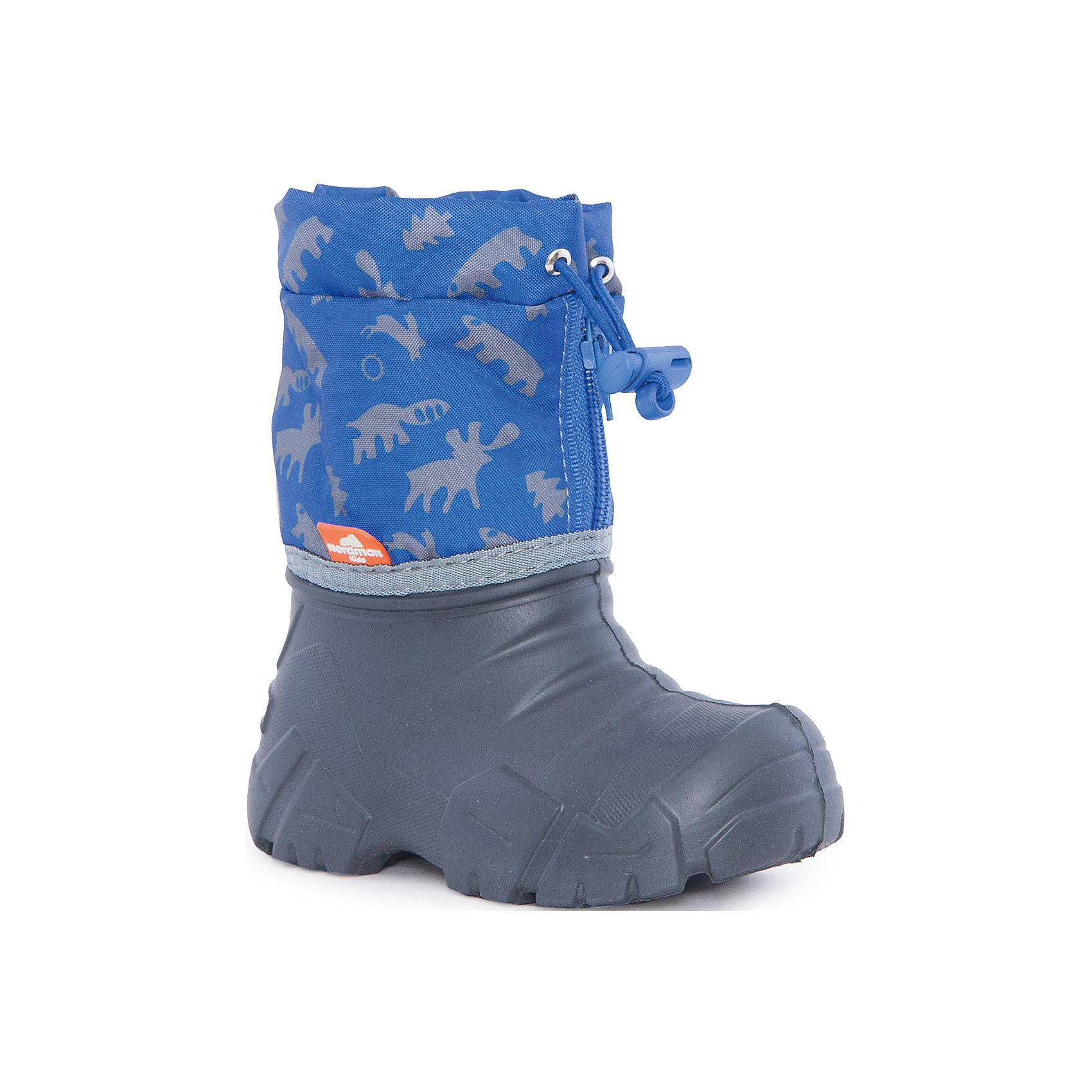 Сноубутсы Kids для мальчика NordmanСноубутсы<br>Характеристики товара:<br><br>• цвет: синий<br>• материал верха: текстиль<br>• материал подкладки: шерстяной мех<br>• материал подошвы: ЭВА<br>• подошва не скользит<br>• застежка: молния<br>• температурный режим: от -10° до +10° С<br>• верх с водоотталкивающей пропиткой<br>• толстая устойчивая подошва<br>• низ не промокает<br>• страна бренда: Российская Федерация<br>• страна изготовитель: Российская Федерация<br><br>При выборе демисезонной и зимней обуви для ребенка необходимо убедиться, что она удобная и теплая. Такие сапожки обеспечат детям комфорт даже в мороз, а непромокающая нижняя часть  оставит ножки в сухости. Сапожки легко снимаются и надеваются, хорошо сидят на ноге. Внутри - специальная теплая подкладка, с которой холода не страшны!<br>Обувь от бренда Nordman - это качественные российские товары, произведенные с применением как натуральных, так и высокотехнологичных материалов. Обувь выделяется стильным дизайном и проработанными деталями. Полностью адаптирована под российскую погоду! Изделие производится из качественных и проверенных материалов, которые безопасны для детей.<br><br>Сапоги для мальчика от бренда Nordman можно купить в нашем интернет-магазине.<br><br>Ширина мм: 257<br>Глубина мм: 180<br>Высота мм: 130<br>Вес г: 420<br>Цвет: синий<br>Возраст от месяцев: 18<br>Возраст до месяцев: 21<br>Пол: Мужской<br>Возраст: Детский<br>Размер: 22/23<br>SKU: 5219851