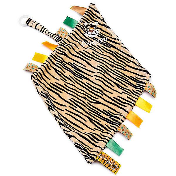 Держатель для соски-салфетка Тигр, ДинглисарПустышки<br>Характеристики игрушки Teddykompaniet: <br><br>• размер держателя-салфетки: 24х23 см;<br>• материал: 100% хлопок (безворсовый велюр) – салфетка; пластик – кольцо-держатель;<br>• серия: Динглисар;<br>• тип крепления: кольцо-держатель.<br><br>Держатель-салфетка с вышитой мордочкой тигренка декорирован атласными ленточками по бокам изделия, на мягкой тесемке закреплен пластиковый карабинчик для пустышки. Малыш может теребить салфетку в ручках, использовать ее на этапе прорезывания зубок – материл отлично впитывает влагу. В процессе игры развивается мелкая моторика ручек, тактильное восприятие, зрительный анализатор. <br><br>Держатель для соски-салфетка Тигр, Динглисар можно купить в нашем интернет-магазине.<br>Ширина мм: 50; Глубина мм: 100; Высота мм: 100; Вес г: 210; Возраст от месяцев: 0; Возраст до месяцев: 12; Пол: Унисекс; Возраст: Детский; SKU: 5220839;