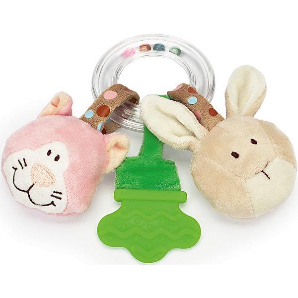 Погремушка-прорезыватель Кот и Кролик, ДинглисарПустышки<br>Характеристики прорезывателя-кольца с погремушкой Teddykompaniet: <br><br>• тип игрушки: прорезыватель-кольцо с погремушкой;<br>• размер: 17 см;<br>• материал: 100% хлопок (безворсовый велюр), пластик;<br>• серия: Динглисар.<br><br>Прозрачное кольцо заполнено разноцветными шариками, которые создают мелодичный перезвон при встряхивании погремушки. <br>Прорезыватель помогает малышу массажировать воспаленные десны на этапе прорезывания зубов. Прорезыватель имеет рельефную поверхность. <br>Мягкие игрушки с мордочками животных, которые ласково улыбаются малышу, выполнены из гипоаллергенного материала, приятного на ощупь. <br><br>Погремушку-прорезыватель Кот и Кролик, Динглисар можно купить в нашем интернет-магазине.<br>Ширина мм: 100; Глубина мм: 50; Высота мм: 100; Вес г: 100; Возраст от месяцев: 0; Возраст до месяцев: 12; Пол: Женский; Возраст: Детский; SKU: 5220841;