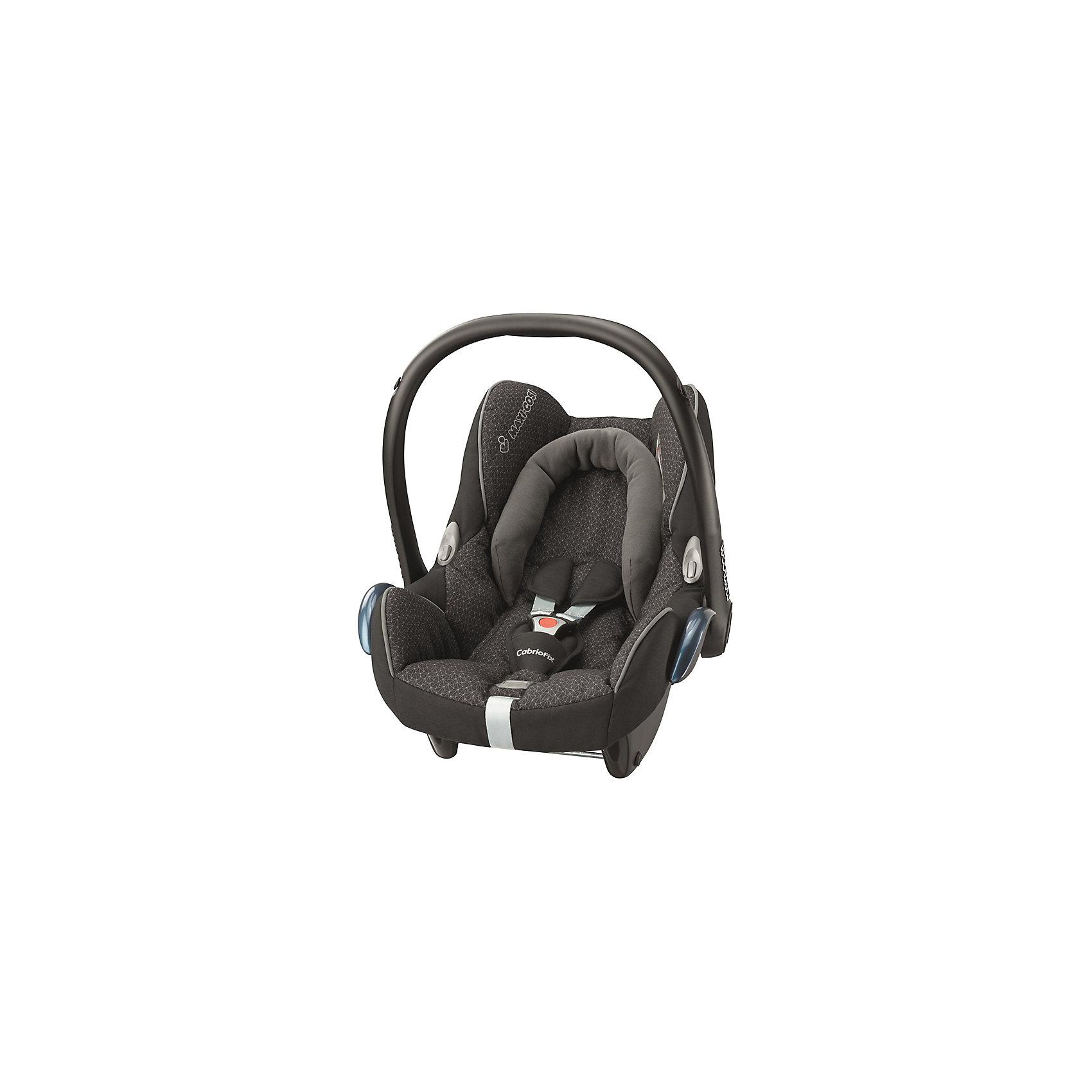 Автокресло Maxi-Cosi CabrioFix 0-13 кг, черный кристаллГруппа 0+ (До 13 кг)<br>Автокресло CabrioFix - это легкое и просторное автокресло для самых маленьких. Устанавливается в направлении, противоположном направлению движения, с помощью стандартного трехполосного ремня безопасности. Сидение анатомической формы, удобный мягкий подголовник, специальная подушечка для поддержки спинки ребенка обеспечат комфорт и удобство во время путешествия. Спинка кресла регулируется в двух положениях: лежа или сидя. Имеется встроенный регулятор, благодаря которому глубина сидения варьируется в зависимости от веса ребенка. За безопасность маленького путешественника будут отвечать надежные 3-точечные регулируемые ремни безопасности с мягкими вставками на плечиках и в зоне животика. Имеются специальные крючки, удерживающие ремни безопасности в стороне, и откидывающаяся пряжка, благодаря чему ремни и пряжка не падают за спину ребенка и не мешают укладывать малыша в автокресло. Увеличенные бортики обеспечат надежную защиту от боковых ударов. Автокресло Cabriofix также можно использовать как кресло-переноску или прогулочный блок коляски. Специальный встроенный козырек укроет малыша от вредных ультрафиолетовых лучей солнца, сильного ветра и дождя. Козырек от солнца складывается непосредственно в обод автокресла. Регулируемая эргономическая ручка обеспечивает простую и удобную переноску. Ручка выполняет функции дополнительной защиты от фронтального удара. Гипоаллергенный материал съемного чехла очень легко стирается. Автокресло Cabriofix от фирмы Maxi Cosi отвечает всем требованиям европейского стандарта безопасности ECE R44/03.<br><br>Дополнительная информация:<br>- Группа 0 (для детей весом 0-13 кг. с рождения до 12 месяцев)<br>- Материал: пластик, полиэстер<br>- Максимальная ширина внутри сидения: 44 см.<br>- Ширина сиденья внутри сидения по бедрам: 29 см.<br>- Максимальная глубина сиденья: 31 см.<br>- Длина спинки внутренняя: 50 см.<br>- Длина: 71 см.<br>- Высота с ручкой: 57 см.<br>- Ве