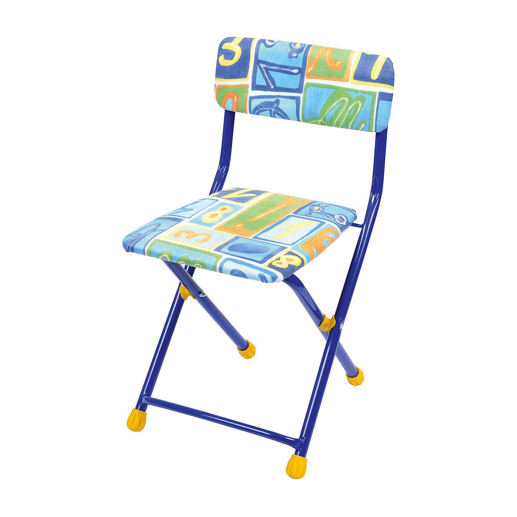 Складной стул с мягким сиденьем КУ1 Алфавит, Ника, синийСтолы и стулья<br>Характеристики товара:<br><br>• материал: металл, пластик, текстиль<br>• сиденье: 310х270 мм<br>• высота до сиденья: 320 мм<br>• высота со спинкой 570 мм<br>• на ножках пластмассовые наконечники<br>• складной<br>• на сиденье мягкая обивка из флока <br>• возраст: от 3 до 7 лет<br>• страна бренда: Российская Федерация<br>• страна производства: Российская Федерация<br><br>Детская мебель может быть удобной и эргономичной! Этот стул разработан специально для детей от трех до семи лет. Он легко складывается и раскладывается, занимает немного места. Сиденье обито мягким флоком, а на ножках стула установлены пластмассовые наконечники для защиты напольного покрытия. Отличное решение для игр, творчества и обучения!<br>Правильно подобранная мебель помогает ребенку расти здоровым, формироваться правильной осанке. Изделие производится из качественных сертифицированных материалов, безопасных даже для самых маленьких.<br><br>Складной стул с мягким сиденьем КУ1 Алфавит от бренда Ника можно купить в нашем интернет-магазине.<br><br>Ширина мм: 700<br>Глубина мм: 160<br>Высота мм: 330<br>Вес г: 2520<br>Возраст от месяцев: 36<br>Возраст до месяцев: 84<br>Пол: Унисекс<br>Возраст: Детский<br>SKU: 5223589
