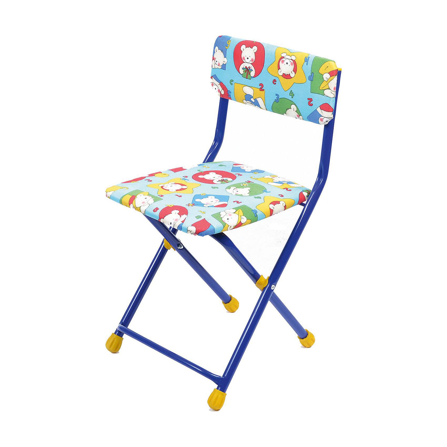 Складной стул с мягким сиденьем КУ1 Мишки, Ника, синийДетские столы и стулья<br>Характеристики товара:<br><br>• цвет: синий<br>• материал: металл, пластик, текстиль<br>• сиденье: 310х270 мм<br>• высота до сиденья: 320 мм<br>• высота со спинкой 570 мм<br>• на ножках пластмассовые наконечники<br>• складной<br>• на сиденье мягкая обивка из флока <br>• возраст: от 3 до 7 лет<br>• страна бренда: Российская Федерация<br>• страна производства: Российская Федерация<br><br>Детская мебель может быть удобной и эргономичной! Этот стул разработан специально для детей от трех до семи лет. Он легко складывается и раскладывается, занимает немного места. Сиденье обито мягким флоком, а на ножках стула установлены пластмассовые наконечники для защиты напольного покрытия. Отличное решение для игр, творчества и обучения!<br>Правильно подобранная мебель помогает ребенку расти здоровым, формироваться правильной осанке. Изделие производится из качественных сертифицированных материалов, безопасных даже для самых маленьких.<br><br>Складной стул с мягким сиденьем КУ1 Мишки, синий от бренда Ника можно купить в нашем интернет-магазине.<br><br>Ширина мм: 700<br>Глубина мм: 160<br>Высота мм: 330<br>Вес г: 2520<br>Возраст от месяцев: 36<br>Возраст до месяцев: 84<br>Пол: Унисекс<br>Возраст: Детский<br>SKU: 5223595