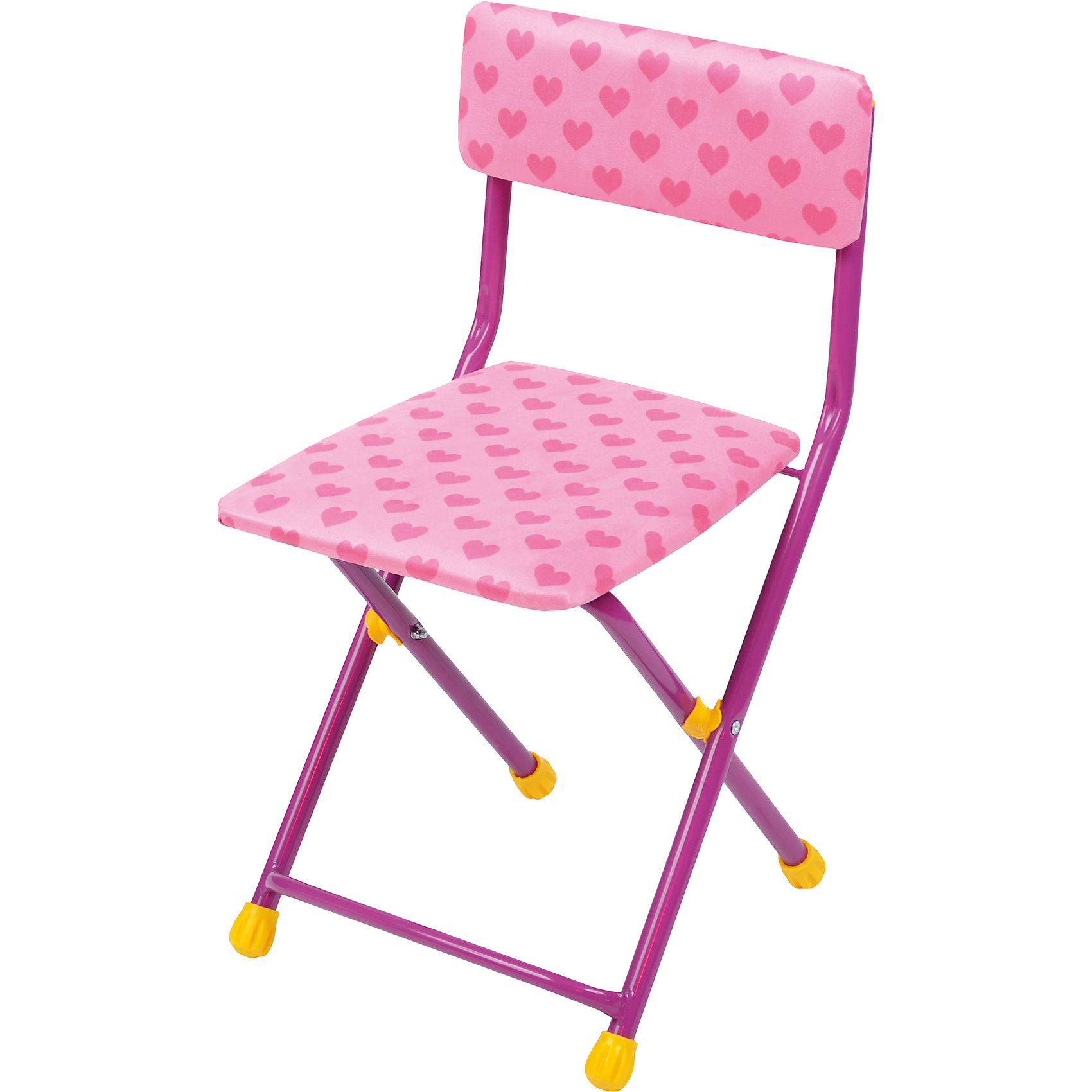 Складной стул с мягким сиденьем «КУ1» Сердечки, Ника, розовый  тумбочка элегия
