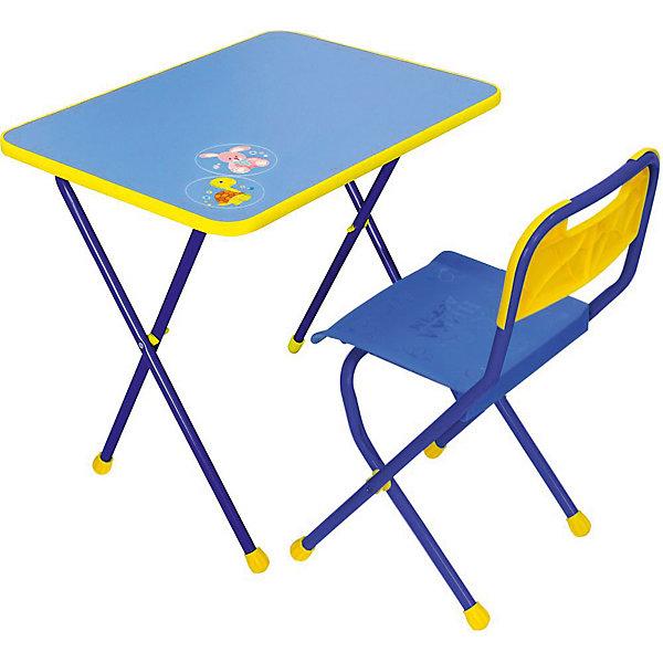 Набор мебели КА1, Алина, Ника, синийДетские столы и стулья<br>Характеристики товара:<br><br>• цвет: синий<br>• материал: металл, пластик, фанера<br>• размер столешницы: 60х45 см<br>• высота стола: 58 см<br>• сиденье: 26х29 см<br>• высота до сиденья: 35 см<br>• высота со спинкой 61 см<br>• размер упаковки: 75х15х61 см<br>• вес в упаковке: 6,5 кг<br>• складной<br>• на столешнице - рисунок<br>• на ламинированной поверхности стола можно рисовать маркером на водной основе<br>• на ножках пластмассовые наконечники<br>• складной<br>• возраст: от 3 до 7 лет<br>• страна бренда: Российская Федерация<br>• страна производства: Российская Федерация<br><br>Детская мебель может быть удобной и эргономичной! Этот комплект разработан специально для детей от трех до семи лет. Он легко складывается и раскладывается, занимает немного места. Каркас сделан из прочного, но легкого металла, а на ножках установлены пластмассовые наконечники для защиты напольного покрытия. Отличное решение как для кормления малыша, так и для игр, творчества и обучения!<br>Правильно подобранная мебель помогает ребенку расти здоровым, формироваться правильной осанке. Изделие производится из качественных сертифицированных материалов, безопасных даже для самых маленьких.<br><br>Набор мебели Алина, синий от бренда Ника можно купить в нашем интернет-магазине.<br><br>Ширина мм: 750<br>Глубина мм: 155<br>Высота мм: 610<br>Вес г: 6650<br>Возраст от месяцев: 36<br>Возраст до месяцев: 84<br>Пол: Унисекс<br>Возраст: Детский<br>SKU: 5223608