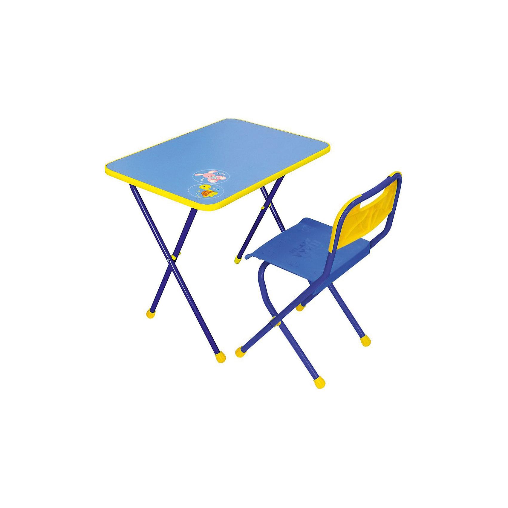 Набор мебели КА1, Алина, Ника, синийМебель<br>Характеристики товара:<br><br>• цвет: синий<br>• материал: металл, пластик, фанера<br>• размер столешницы: 60х45 см<br>• высота стола: 58 см<br>• сиденье: 26х29 см<br>• высота до сиденья: 35 см<br>• высота со спинкой 61 см<br>• размер упаковки: 75х15х61 см<br>• вес в упаковке: 6,5 кг<br>• складной<br>• на столешнице - рисунок<br>• на ламинированной поверхности стола можно рисовать маркером на водной основе<br>• на ножках пластмассовые наконечники<br>• складной<br>• возраст: от 3 до 7 лет<br>• страна бренда: Российская Федерация<br>• страна производства: Российская Федерация<br><br>Детская мебель может быть удобной и эргономичной! Этот комплект разработан специально для детей от трех до семи лет. Он легко складывается и раскладывается, занимает немного места. Каркас сделан из прочного, но легкого металла, а на ножках установлены пластмассовые наконечники для защиты напольного покрытия. Отличное решение как для кормления малыша, так и для игр, творчества и обучения!<br>Правильно подобранная мебель помогает ребенку расти здоровым, формироваться правильной осанке. Изделие производится из качественных сертифицированных материалов, безопасных даже для самых маленьких.<br><br>Набор мебели Алина, синий от бренда Ника можно купить в нашем интернет-магазине.<br><br>Ширина мм: 750<br>Глубина мм: 155<br>Высота мм: 610<br>Вес г: 6650<br>Возраст от месяцев: 36<br>Возраст до месяцев: 84<br>Пол: Унисекс<br>Возраст: Детский<br>SKU: 5223608