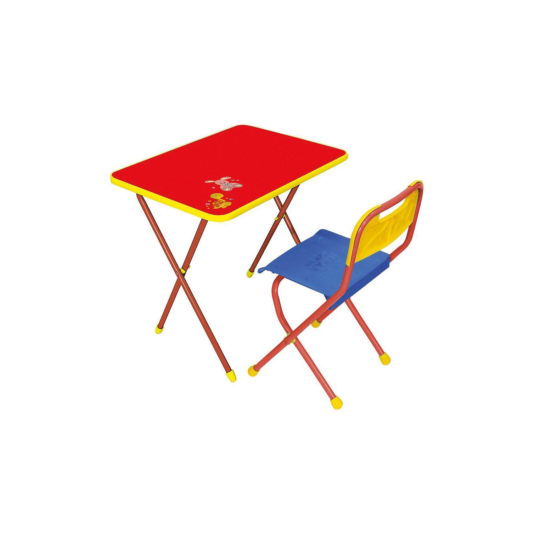 Набор мебели КА1, Алина, Ника, красныйСтолы и стулья<br>Характеристики товара:<br><br>• цвет: красный<br>• материал: металл, пластик, фанера<br>• размер столешницы: 60х45 см<br>• высота стола: 58 см<br>• сиденье: 26х29 см<br>• высота до сиденья: 35 см<br>• высота со спинкой 61 см<br>• размер упаковки: 75х15х61 см<br>• вес в упаковке: 6,5 кг<br>• складной<br>• на столешнице - рисунок<br>• на ламинированной поверхности стола можно рисовать маркером на водной основе<br>• на ножках пластмассовые наконечники<br>• складной<br>• возраст: от 3 до 7 лет<br>• страна бренда: Российская Федерация<br>• страна производства: Российская Федерация<br><br>Детская мебель может быть удобной и эргономичной! Этот комплект разработан специально для детей от трех до семи лет. Он легко складывается и раскладывается, занимает немного места. Каркас сделан из прочного, но легкого металла, а на ножках установлены пластмассовые наконечники для защиты напольного покрытия. Отличное решение как для кормления малыша, так и для игр, творчества и обучения!<br>Правильно подобранная мебель помогает ребенку расти здоровым, формироваться правильной осанке. Изделие производится из качественных сертифицированных материалов, безопасных даже для самых маленьких.<br><br>Набор мебели Алина, красный от бренда Ника можно купить в нашем интернет-магазине.<br><br>Ширина мм: 750<br>Глубина мм: 155<br>Высота мм: 610<br>Вес г: 6650<br>Возраст от месяцев: 36<br>Возраст до месяцев: 84<br>Пол: Унисекс<br>Возраст: Детский<br>SKU: 5223609