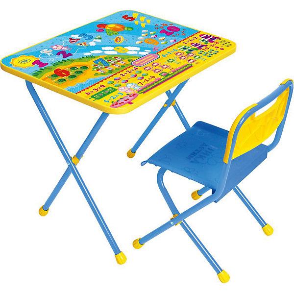 Набор мебели Познайка КП/8, Математика в космосе, НикаДетские столы и стулья<br>Характеристики товара:<br><br>• материал: металл, пластик<br>• размер столешницы: 60х45 см<br>• высота стола: 52 см<br>• сиденье: 26х29 см<br>• высота до сиденья: 30 см<br>• высота со спинкой 55 см<br>• размер упаковки: 75х15х61 см<br>• вес в упаковке: 7,5 кг<br>• складной<br>• на столешнице - полезные рисунки<br>• на ламинированной поверхности стола можно рисовать маркером на водной основе<br>• на ножках пластмассовые наконечники<br>• складной<br>• возраст: от 1,5 до 3 лет<br>• страна бренда: Российская Федерация<br>• страна производства: Российская Федерация<br><br>Детская мебель может быть удобной и эргономичной! Этот комплект разработан специально для детей от полутора до трех лет. Он легко складывается и раскладывается, занимает немного места, легко моется. Каркас сделан из прочного, но легкого металла, а на ножках установлены пластмассовые наконечники для защиты напольного покрытия. Столешница украшена полезными познавательными рисунками. Отличное решение как для кормления малыша, так и для игр, творчества и развивающих занятий!<br>Правильно подобранная мебель помогает ребенку расти здоровым, формироваться правильной осанке. Изделие производится из качественных сертифицированных материалов, безопасных даже для самых маленьких.<br><br>Набор мебели Познайка Математика в космосе от бренда Ника можно купить в нашем интернет-магазине.<br>Ширина мм: 750; Глубина мм: 155; Высота мм: 610; Вес г: 7650; Возраст от месяцев: 180; Возраст до месяцев: 36; Пол: Унисекс; Возраст: Детский; SKU: 5223613;