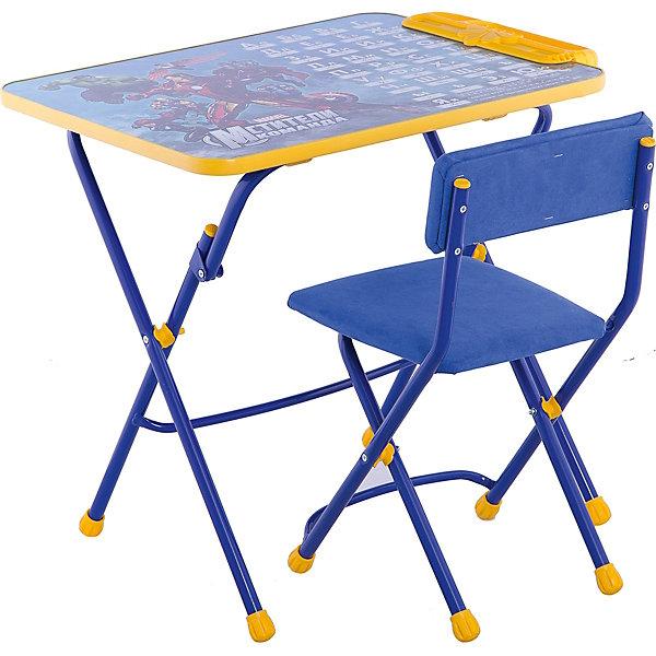 Набор мебели Д3А, Мстители, НикаДетские столы и стулья<br>Характеристики товара:<br><br>• материал: металл, пластик, текстиль<br>• размер столешницы: 60х45 см<br>• высота стола: 58 см<br>• сиденье: 31х27 см<br>• высота до сиденья: 32 см<br>• высота со спинкой 57 см<br>• подставка для ног<br>• стул с мягким сиденьем (флок)<br>• пенал<br>• складной<br>• на столешнице - полезные рисунки<br>• на ламинированной поверхности стола можно рисовать маркером на водной основе<br>• на ножках пластмассовые наконечники<br>• складной<br>• возраст: от 3 до 7 лет<br>• страна бренда: Российская Федерация<br>• страна производства: Российская Федерация<br><br>Детская мебель может быть удобной и эргономичной! Этот комплект разработан специально для детей от трех до семи лет. Он легко складывается и раскладывается, занимает немного места, легко моется. Каркас сделан из прочного, но легкого металла, а на ножках установлены пластмассовые наконечники для защиты напольного покрытия. Столешница украшена полезными познавательными рисунками. Отличное решение как для кормления малыша, так и для игр, творчества и обучения!<br>Правильно подобранная мебель помогает ребенку расти здоровым, формироваться правильной осанке. Изделие производится из качественных сертифицированных материалов, безопасных даже для самых маленьких.<br><br>Набор мебели 3 Мстители от бренда Ника можно купить в нашем интернет-магазине.<br><br>Ширина мм: 750<br>Глубина мм: 155<br>Высота мм: 610<br>Вес г: 8080<br>Возраст от месяцев: 36<br>Возраст до месяцев: 84<br>Пол: Унисекс<br>Возраст: Детский<br>SKU: 5223615