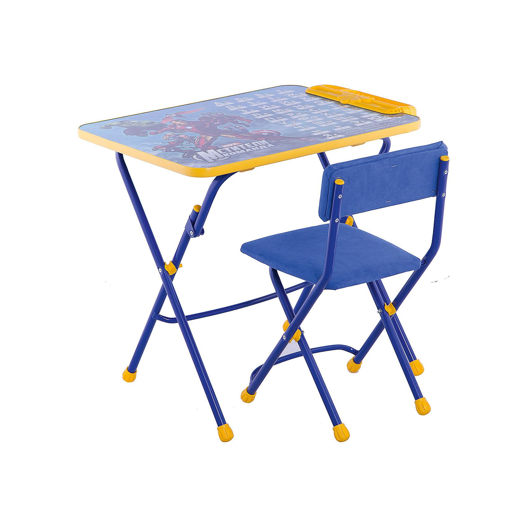 Набор мебели Д3А, Мстители, НикаСтолы и стулья<br>Характеристики товара:<br><br>• материал: металл, пластик, текстиль<br>• размер столешницы: 60х45 см<br>• высота стола: 58 см<br>• сиденье: 31х27 см<br>• высота до сиденья: 32 см<br>• высота со спинкой 57 см<br>• подставка для ног<br>• стул с мягким сиденьем (флок)<br>• пенал<br>• складной<br>• на столешнице - полезные рисунки<br>• на ламинированной поверхности стола можно рисовать маркером на водной основе<br>• на ножках пластмассовые наконечники<br>• складной<br>• возраст: от 3 до 7 лет<br>• страна бренда: Российская Федерация<br>• страна производства: Российская Федерация<br><br>Детская мебель может быть удобной и эргономичной! Этот комплект разработан специально для детей от трех до семи лет. Он легко складывается и раскладывается, занимает немного места, легко моется. Каркас сделан из прочного, но легкого металла, а на ножках установлены пластмассовые наконечники для защиты напольного покрытия. Столешница украшена полезными познавательными рисунками. Отличное решение как для кормления малыша, так и для игр, творчества и обучения!<br>Правильно подобранная мебель помогает ребенку расти здоровым, формироваться правильной осанке. Изделие производится из качественных сертифицированных материалов, безопасных даже для самых маленьких.<br><br>Набор мебели 3 Мстители от бренда Ника можно купить в нашем интернет-магазине.<br><br>Ширина мм: 750<br>Глубина мм: 155<br>Высота мм: 610<br>Вес г: 8080<br>Возраст от месяцев: 36<br>Возраст до месяцев: 84<br>Пол: Унисекс<br>Возраст: Детский<br>SKU: 5223615
