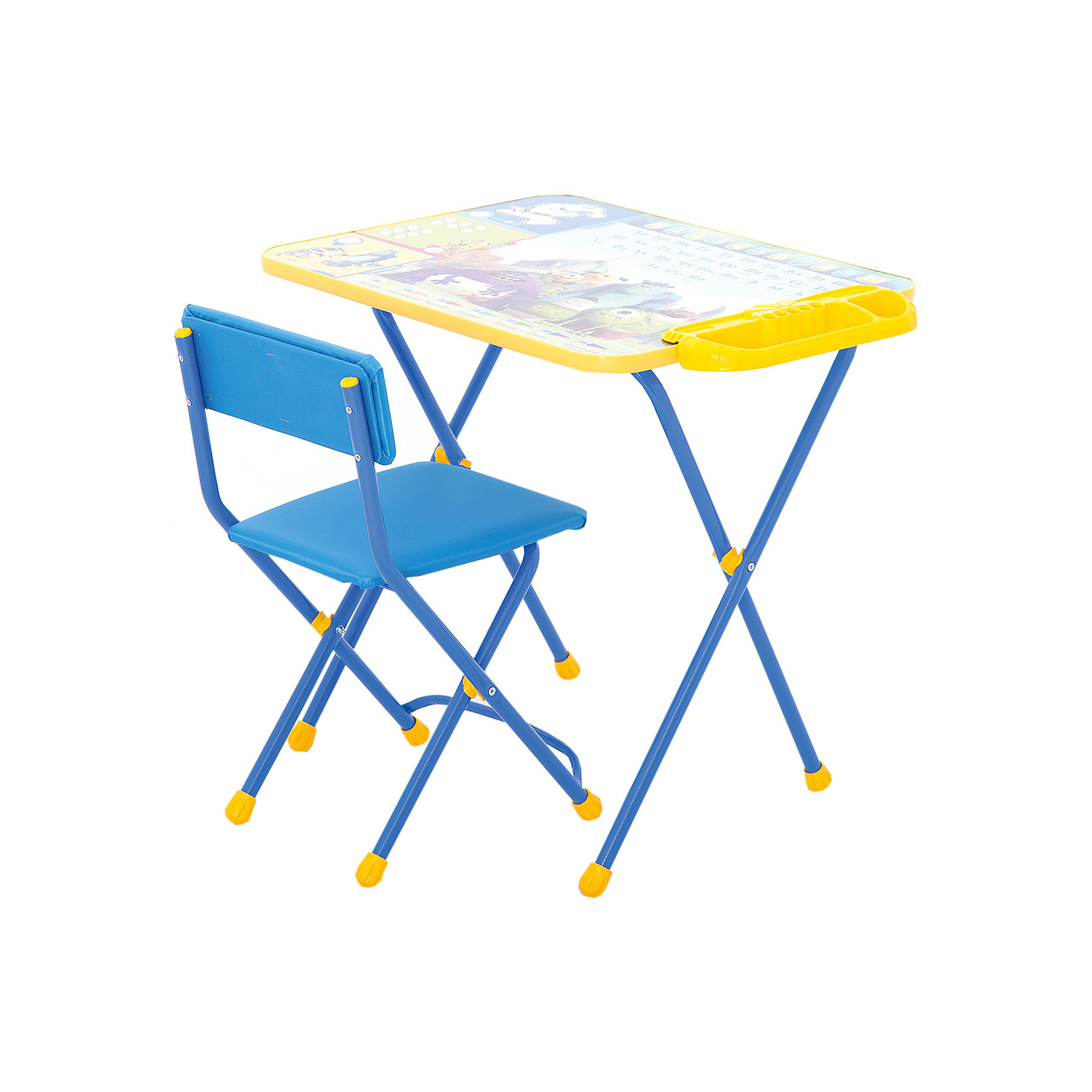 Набор мебели Д2У, Университет Монстров, НикаСтолы и стулья<br>Характеристики товара:<br><br>• материал: металл, пластик, текстиль<br>• размер столешницы: 60х45 см<br>• высота стола: 58 см<br>• сиденье: 31х27 см<br>• высота до сиденья: 32 см<br>• высота со спинкой 57 см<br>• подставка для ног<br>• стул с мягким сиденьем (флок)<br>• пенал<br>• складной<br>• на столешнице - полезные рисунки<br>• на ламинированной поверхности стола можно рисовать маркером на водной основе<br>• на ножках пластмассовые наконечники<br>• складной<br>• возраст: от 3 до 7 лет<br>• страна бренда: Российская Федерация<br>• страна производства: Российская Федерация<br><br>Детская мебель может быть удобной и эргономичной! Этот комплект разработан специально для детей от трех до семи лет. Он легко складывается и раскладывается, занимает немного места, легко моется. Каркас сделан из прочного, но легкого металла, а на ножках установлены пластмассовые наконечники для защиты напольного покрытия. Столешница украшена полезными познавательными рисунками. Отличное решение как для кормления малыша, так и для игр, творчества и обучения!<br>Правильно подобранная мебель помогает ребенку расти здоровым, формироваться правильной осанке. Изделие производится из качественных сертифицированных материалов, безопасных даже для самых маленьких.<br><br>Набор мебели Disney 2. Университет Монстров от бренда Ника можно купить в нашем интернет-магазине.<br><br>Ширина мм: 750<br>Глубина мм: 155<br>Высота мм: 610<br>Вес г: 8080<br>Возраст от месяцев: 36<br>Возраст до месяцев: 84<br>Пол: Унисекс<br>Возраст: Детский<br>SKU: 5223616
