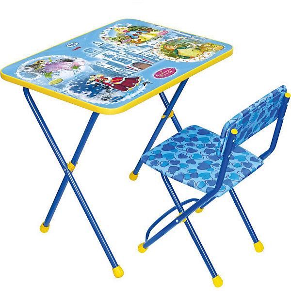 Набор мебели Познайка КП2/16 Волшебный мир, НикаДетские столы и стулья<br>Характеристики товара:<br><br>• материал: металл, пластик, текстиль<br>• размер столешницы: 60х45 см<br>• высота стола: 58 см<br>• сиденье: 31х27 см<br>• высота до сиденья: 32 см<br>• высота со спинкой 57 см<br>• подставка для ног<br>• стул с мягким сиденьем (флок)<br>• пенал<br>• складной<br>• на столешнице - полезные рисунки<br>• на ламинированной поверхности стола можно рисовать маркером на водной основе<br>• на ножках пластмассовые наконечники<br>• складной<br>• возраст: от 3 до 7 лет<br>• страна бренда: Российская Федерация<br>• страна производства: Российская Федерация<br><br>Детская мебель может быть удобной и эргономичной! Этот комплект разработан специально для детей от трех до семи лет. Он легко складывается и раскладывается, занимает немного места, легко моется. Каркас сделан из прочного, но легкого металла, а на ножках установлены пластмассовые наконечники для защиты напольного покрытия. Столешница украшена полезными познавательными рисунками. Отличное решение как для кормления малыша, так и для игр, творчества и обучения!<br>Правильно подобранная мебель помогает ребенку расти здоровым, формироваться правильной осанке. Изделие производится из качественных сертифицированных материалов, безопасных даже для самых маленьких.<br><br>Набор мебели Познайка КП2/16 Волшебный мир от бренда Ника можно купить в нашем интернет-магазине.<br><br>Ширина мм: 750<br>Глубина мм: 155<br>Высота мм: 610<br>Вес г: 8080<br>Возраст от месяцев: 36<br>Возраст до месяцев: 84<br>Пол: Унисекс<br>Возраст: Детский<br>SKU: 5223617