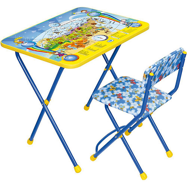 Набор мебели Познайка КП2/10 Познаю мир, НикаДетские столы и стулья<br>Характеристики товара:<br><br>• материал: металл, пластик, текстиль<br>• размер столешницы: 60х45 см<br>• высота стола: 58 см<br>• сиденье: 31х27 см<br>• высота до сиденья: 32 см<br>• высота со спинкой 57 см<br>• подставка для ног<br>• стул с мягким сиденьем (флок)<br>• пенал<br>• складной<br>• на столешнице - полезные рисунки<br>• на ламинированной поверхности стола можно рисовать маркером на водной основе<br>• на ножках пластмассовые наконечники<br>• складной<br>• возраст: от 3 до 7 лет<br>• страна бренда: Российская Федерация<br>• страна производства: Российская Федерация<br><br>Детская мебель может быть удобной и эргономичной! Этот комплект разработан специально для детей от трех до семи лет. Он легко складывается и раскладывается, занимает немного места, легко моется. Каркас сделан из прочного, но легкого металла, а на ножках установлены пластмассовые наконечники для защиты напольного покрытия. Столешница украшена полезными познавательными рисунками. Отличное решение как для кормления малыша, так и для игр, творчества и обучения!<br>Правильно подобранная мебель помогает ребенку расти здоровым, формироваться правильной осанке. Изделие производится из качественных сертифицированных материалов, безопасных даже для самых маленьких.<br><br>Набор мебели Познайка КП2/10 Познаю мир от бренда Ника можно купить в нашем интернет-магазине.<br>Ширина мм: 750; Глубина мм: 155; Высота мм: 610; Вес г: 8080; Возраст от месяцев: 36; Возраст до месяцев: 84; Пол: Унисекс; Возраст: Детский; SKU: 5223618;
