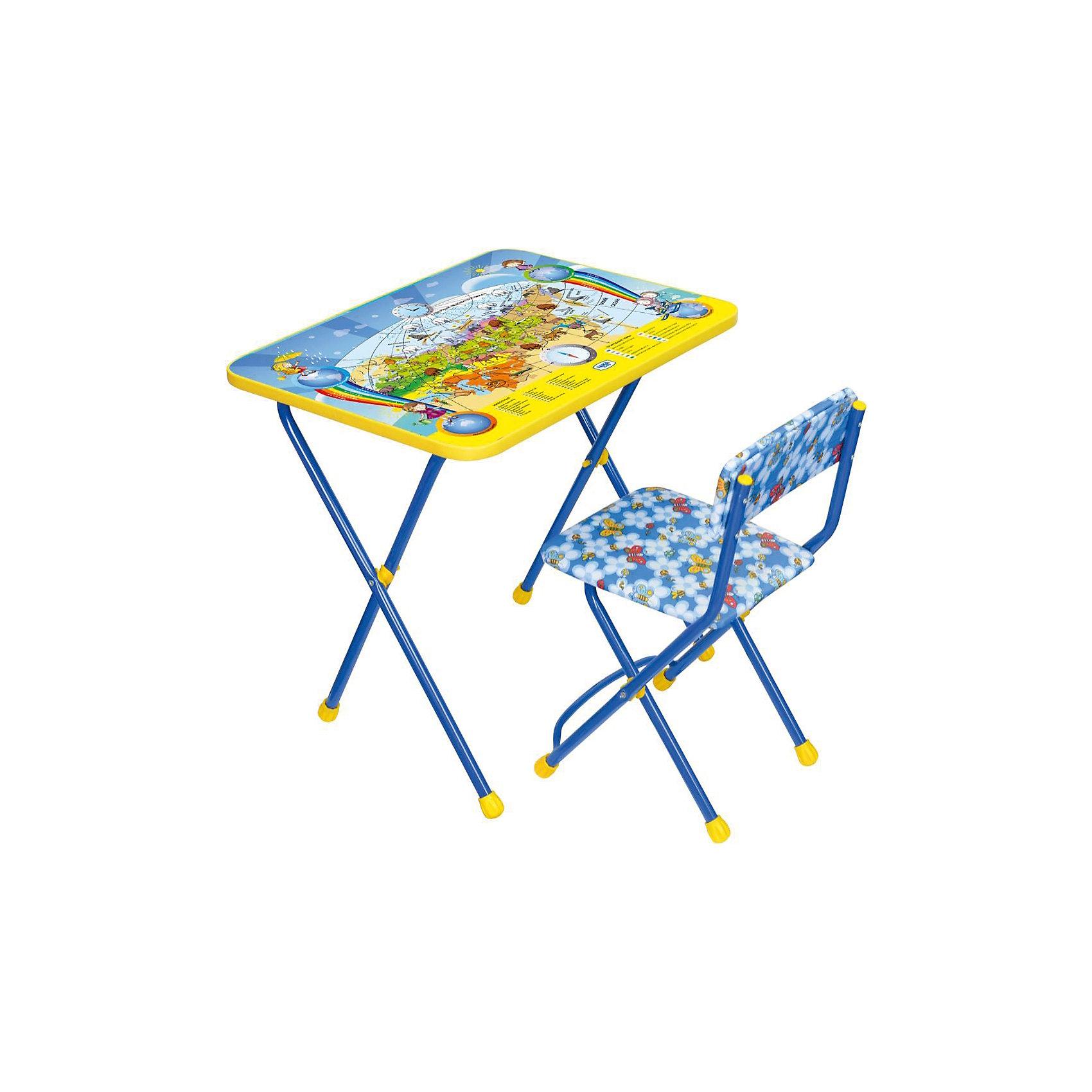 Набор мебели Познайка КП2/10 Познаю мир, НикаСтолы и стулья<br>Характеристики товара:<br><br>• материал: металл, пластик, текстиль<br>• размер столешницы: 60х45 см<br>• высота стола: 58 см<br>• сиденье: 31х27 см<br>• высота до сиденья: 32 см<br>• высота со спинкой 57 см<br>• подставка для ног<br>• стул с мягким сиденьем (флок)<br>• пенал<br>• складной<br>• на столешнице - полезные рисунки<br>• на ламинированной поверхности стола можно рисовать маркером на водной основе<br>• на ножках пластмассовые наконечники<br>• складной<br>• возраст: от 3 до 7 лет<br>• страна бренда: Российская Федерация<br>• страна производства: Российская Федерация<br><br>Детская мебель может быть удобной и эргономичной! Этот комплект разработан специально для детей от трех до семи лет. Он легко складывается и раскладывается, занимает немного места, легко моется. Каркас сделан из прочного, но легкого металла, а на ножках установлены пластмассовые наконечники для защиты напольного покрытия. Столешница украшена полезными познавательными рисунками. Отличное решение как для кормления малыша, так и для игр, творчества и обучения!<br>Правильно подобранная мебель помогает ребенку расти здоровым, формироваться правильной осанке. Изделие производится из качественных сертифицированных материалов, безопасных даже для самых маленьких.<br><br>Набор мебели Познайка КП2/10 Познаю мир от бренда Ника можно купить в нашем интернет-магазине.<br><br>Ширина мм: 750<br>Глубина мм: 155<br>Высота мм: 610<br>Вес г: 8080<br>Возраст от месяцев: 36<br>Возраст до месяцев: 84<br>Пол: Унисекс<br>Возраст: Детский<br>SKU: 5223618