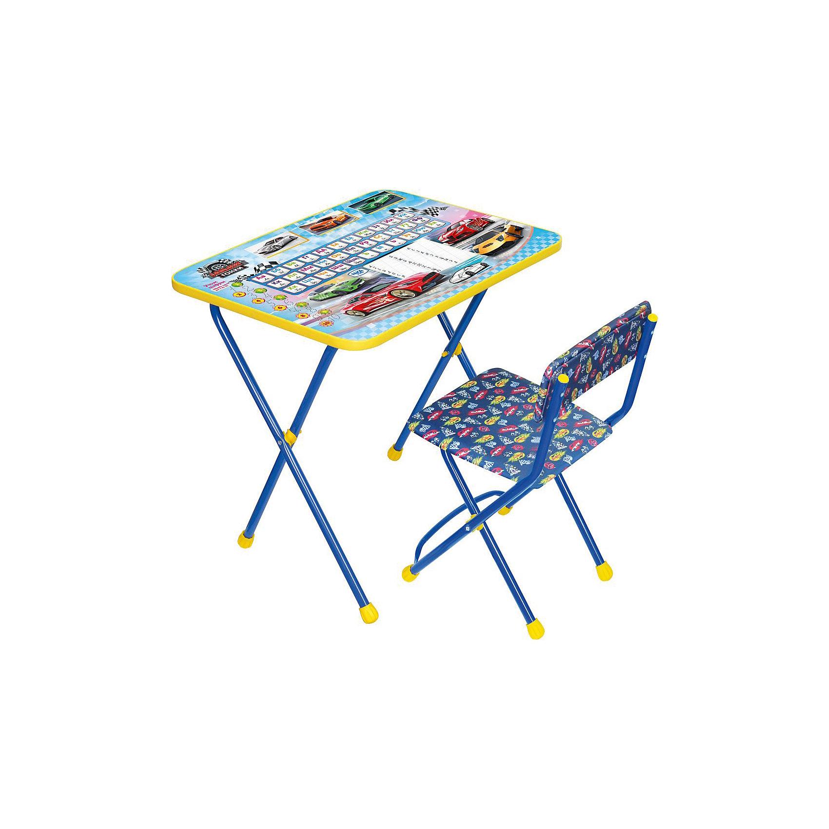 Набор мебели Познайка КП2/15 Большие гонки, НикаХарактеристики товара:<br><br>• материал: металл, пластик, текстиль<br>• размер столешницы: 60х45 см<br>• высота стола: 58 см<br>• сиденье: 31х27 см<br>• высота до сиденья: 32 см<br>• высота со спинкой 57 см<br>• подставка для ног<br>• стул с мягким сиденьем (флок)<br>• пенал<br>• складной<br>• на столешнице - полезные рисунки<br>• на ламинированной поверхности стола можно рисовать маркером на водной основе<br>• на ножках пластмассовые наконечники<br>• складной<br>• возраст: от 3 до 7 лет<br>• страна бренда: Российская Федерация<br>• страна производства: Российская Федерация<br><br>Детская мебель может быть удобной и эргономичной! Этот комплект разработан специально для детей от трех до семи лет. Он легко складывается и раскладывается, занимает немного места, легко моется. Каркас сделан из прочного, но легкого металла, а на ножках установлены пластмассовые наконечники для защиты напольного покрытия. Столешница украшена полезными познавательными рисунками. Отличное решение как для кормления малыша, так и для игр, творчества и обучения!<br>Правильно подобранная мебель помогает ребенку расти здоровым, формироваться правильной осанке. Изделие производится из качественных сертифицированных материалов, безопасных даже для самых маленьких.<br><br>Набор мебели Познайка КП2/15 Большие гонки, от бренда Ника можно купить в нашем интернет-магазине.<br><br>Ширина мм: 750<br>Глубина мм: 155<br>Высота мм: 610<br>Вес г: 8080<br>Возраст от месяцев: 36<br>Возраст до месяцев: 84<br>Пол: Мужской<br>Возраст: Детский<br>SKU: 5223619