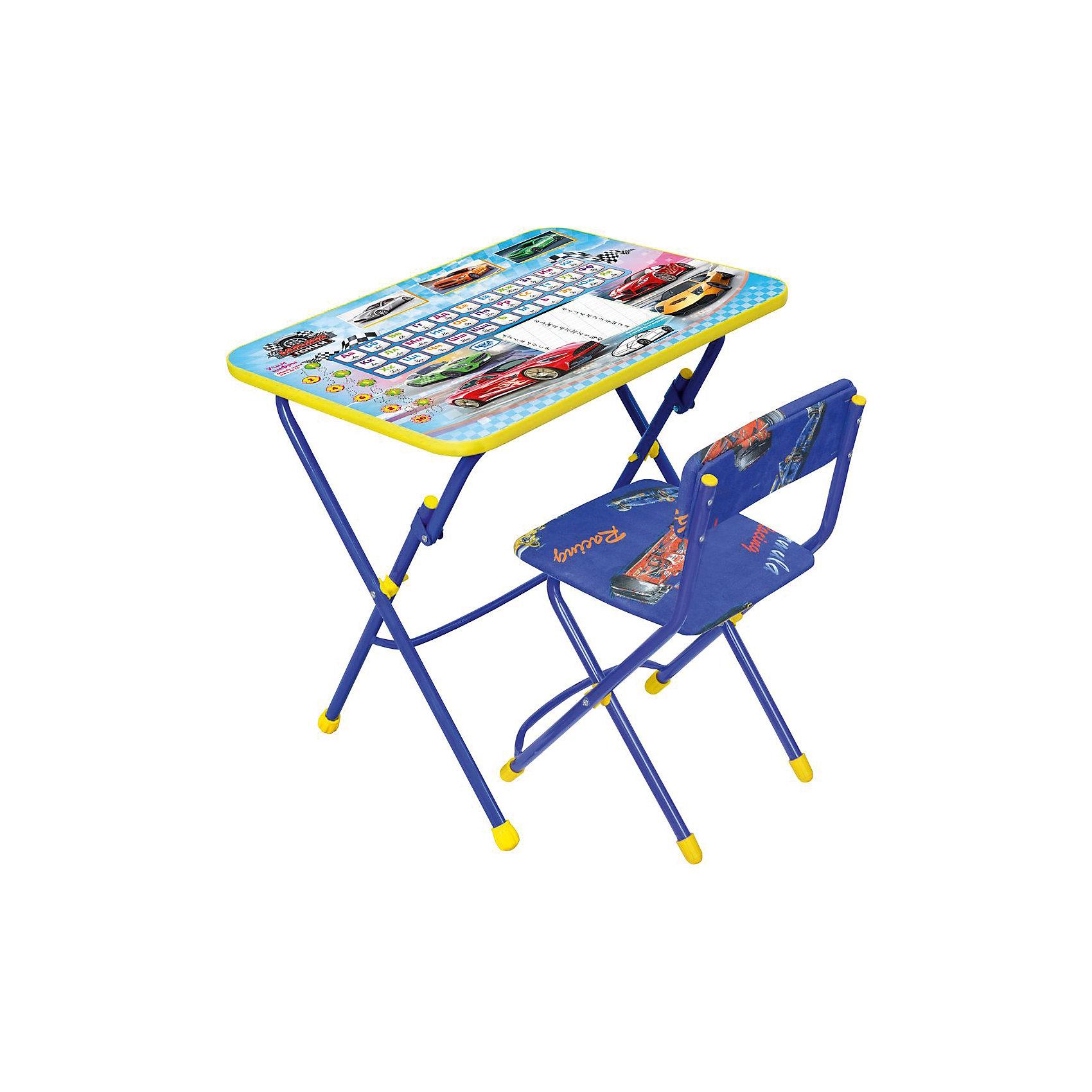 Набор мебели Никки КУ1/15 Большие гонки, НикаХарактеристики товара:<br><br>• материал: металл, пластик, текстиль<br>• размер столешницы: 60х45 см<br>• высота стола: 58 см<br>• сиденье: 31х27 см<br>• высота до сиденья: 32 см<br>• высота со спинкой 57 см<br>• подставка для ног<br>• стул с мягким сиденьем (флок)<br>• пенал<br>• складной<br>• на столешнице - полезные рисунки<br>• на ламинированной поверхности стола можно рисовать маркером на водной основе<br>• на ножках пластмассовые наконечники<br>• складной<br>• возраст: от 3 до 7 лет<br>• страна бренда: Российская Федерация<br>• страна производства: Российская Федерация<br><br>Детская мебель может быть удобной и эргономичной! Этот комплект разработан специально для детей от трех до семи лет. Он легко складывается и раскладывается, занимает немного места, легко моется. Каркас сделан из прочного, но легкого металла, а на ножках установлены пластмассовые наконечники для защиты напольного покрытия. Столешница украшена полезными познавательными рисунками. Отличное решение как для кормления малыша, так и для игр, творчества и обучения!<br>Правильно подобранная мебель помогает ребенку расти здоровым, формироваться правильной осанке. Изделие производится из качественных сертифицированных материалов, безопасных даже для самых маленьких.<br><br>Набор мебели Никки КУ1/15 Большие гонки от бренда Ника можно купить в нашем интернет-магазине.<br><br>Ширина мм: 750<br>Глубина мм: 155<br>Высота мм: 610<br>Вес г: 8080<br>Возраст от месяцев: 36<br>Возраст до месяцев: 84<br>Пол: Мужской<br>Возраст: Детский<br>SKU: 5223621