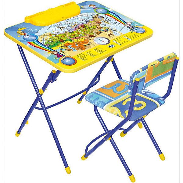 Набор мебели Никки КУ3/10 Познаю мир, НикаДетские столы и стулья<br>Характеристики товара:<br><br>• материал: металл, пластик, текстиль<br>• размер столешницы: 60х45 см<br>• высота стола: 58 см<br>• сиденье: 31х27 см<br>• высота до сиденья: 32 см<br>• высота со спинкой 57 см<br>• подставка для ног<br>• стул с мягким сиденьем (флок)<br>• пенал<br>• складной<br>• на столешнице - полезные рисунки<br>• на ламинированной поверхности стола можно рисовать маркером на водной основе<br>• на ножках пластмассовые наконечники<br>• складной<br>• возраст: от 3 до 7 лет<br>• страна бренда: Российская Федерация<br>• страна производства: Российская Федерация<br><br>Детская мебель может быть удобной и эргономичной! Этот комплект разработан специально для детей от трех до семи лет. Он легко складывается и раскладывается, занимает немного места, легко моется. Каркас сделан из прочного, но легкого металла, а на ножках установлены пластмассовые наконечники для защиты напольного покрытия. Столешница украшена полезными познавательными рисунками. Отличное решение как для кормления малыша, так и для игр, творчества и обучения!<br>Правильно подобранная мебель помогает ребенку расти здоровым, формироваться правильной осанке. Изделие производится из качественных сертифицированных материалов, безопасных даже для самых маленьких.<br><br>Набор мебели Никки КУ3/10 Познаю мир от бренда Ника можно купить в нашем интернет-магазине.<br><br>Ширина мм: 750<br>Глубина мм: 155<br>Высота мм: 610<br>Вес г: 8140<br>Возраст от месяцев: 36<br>Возраст до месяцев: 84<br>Пол: Унисекс<br>Возраст: Детский<br>SKU: 5223626