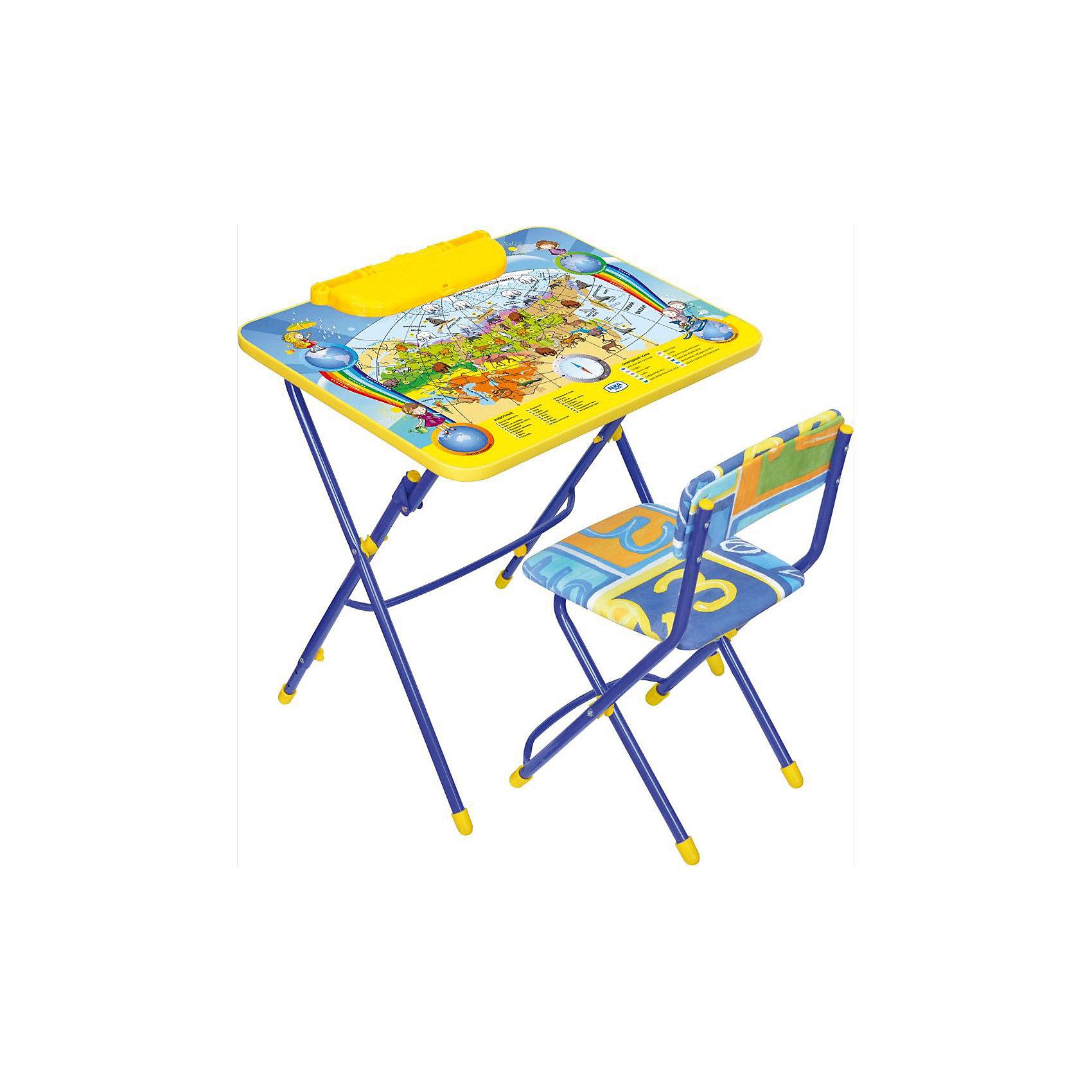 Набор мебели Никки КУ3/10 Познаю мир, НикаХарактеристики товара:<br><br>• материал: металл, пластик, текстиль<br>• размер столешницы: 60х45 см<br>• высота стола: 58 см<br>• сиденье: 31х27 см<br>• высота до сиденья: 32 см<br>• высота со спинкой 57 см<br>• подставка для ног<br>• стул с мягким сиденьем (флок)<br>• пенал<br>• складной<br>• на столешнице - полезные рисунки<br>• на ламинированной поверхности стола можно рисовать маркером на водной основе<br>• на ножках пластмассовые наконечники<br>• складной<br>• возраст: от 3 до 7 лет<br>• страна бренда: Российская Федерация<br>• страна производства: Российская Федерация<br><br>Детская мебель может быть удобной и эргономичной! Этот комплект разработан специально для детей от трех до семи лет. Он легко складывается и раскладывается, занимает немного места, легко моется. Каркас сделан из прочного, но легкого металла, а на ножках установлены пластмассовые наконечники для защиты напольного покрытия. Столешница украшена полезными познавательными рисунками. Отличное решение как для кормления малыша, так и для игр, творчества и обучения!<br>Правильно подобранная мебель помогает ребенку расти здоровым, формироваться правильной осанке. Изделие производится из качественных сертифицированных материалов, безопасных даже для самых маленьких.<br><br>Набор мебели Никки КУ3/10 Познаю мир от бренда Ника можно купить в нашем интернет-магазине.<br><br>Ширина мм: 750<br>Глубина мм: 155<br>Высота мм: 610<br>Вес г: 8140<br>Возраст от месяцев: 36<br>Возраст до месяцев: 84<br>Пол: Унисекс<br>Возраст: Детский<br>SKU: 5223626