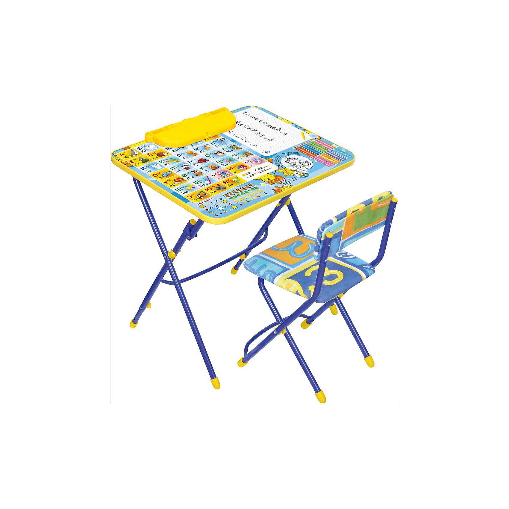 Набор мебели Никки КУ3/11 Первоклашка. Осень, НикаСтолы и стулья<br>Характеристики товара:<br><br>• материал: металл, пластик, текстиль<br>• размер столешницы: 60х45 см<br>• высота стола: 58 см<br>• сиденье: 31х27 см<br>• высота до сиденья: 32 см<br>• высота со спинкой 57 см<br>• подставка для ног<br>• стул с мягким сиденьем (флок)<br>• пенал<br>• складной<br>• на столешнице - полезные рисунки<br>• на ламинированной поверхности стола можно рисовать маркером на водной основе<br>• на ножках пластмассовые наконечники<br>• складной<br>• возраст: от 3 до 7 лет<br>• страна бренда: Российская Федерация<br>• страна производства: Российская Федерация<br><br>Детская мебель может быть удобной и эргономичной! Этот комплект разработан специально для детей от трех до семи лет. Он легко складывается и раскладывается, занимает немного места, легко моется. Каркас сделан из прочного, но легкого металла, а на ножках установлены пластмассовые наконечники для защиты напольного покрытия. Столешница украшена полезными познавательными рисунками. Отличное решение как для кормления малыша, так и для игр, творчества и обучения!<br>Правильно подобранная мебель помогает ребенку расти здоровым, формироваться правильной осанке. Изделие производится из качественных сертифицированных материалов, безопасных даже для самых маленьких.<br><br>Набор мебели Никки КУ3/11 Первоклашка. Осень, от бренда Ника можно купить в нашем интернет-магазине.<br><br>Ширина мм: 750<br>Глубина мм: 155<br>Высота мм: 610<br>Вес г: 8140<br>Возраст от месяцев: 36<br>Возраст до месяцев: 84<br>Пол: Унисекс<br>Возраст: Детский<br>SKU: 5223627