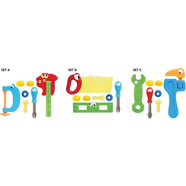 Игровой набор инструментов, 7 шт., BoleyНаборы инструментов<br>Характеристики товара:<br><br>• размер: 32х5х21 см<br>• материал: пластик<br>• комплектация: 7 шт<br>• страна бренда: США<br>• страна производства: Китай<br><br>Игровой набор из безопасных инструментов, которые похожи на настоящие, - отличный подарок для ребенка! Мальчики стараются копировать поведение взрослых - это помогает им многому научиться. Чтобы ребенок мог безопасно и весело играть - вручите ему такие инструменты. Они легкие и яркие!<br>Такая игра помогает ребенку развиваться физически, нарабатывать новые навыки и способности - ловкость, быструю реакцию, моторику, а также активизирует процессы мышления. Изделие производится из качественных сертифицированных материалов, безопасных даже для самых маленьких.<br><br>Игровой набор инструментов, 7 шт., от бренда Boley можно купить в нашем интернет-магазине.<br>Ширина мм: 330; Глубина мм: 220; Высота мм: 50; Вес г: 325; Возраст от месяцев: 36; Возраст до месяцев: 2147483647; Пол: Мужской; Возраст: Детский; SKU: 5224446;