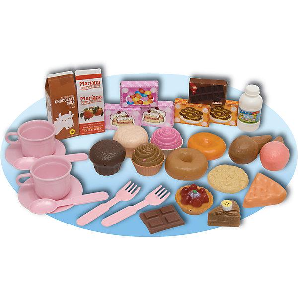 Игровой набор Приятное чаепитие, 30 шт., BoleyИгрушечные продукты питания<br>Характеристики товара:<br><br>• 30 предметов<br>• размер упаковки: 32х30 x 5 см<br>• материал: пластик<br>• комплектация: кексы, пончики, пирожные, печенья, пакет с молоком, пакет с соком, посуда<br>• возраст: от трех лет<br>• страна бренда: США<br>• страна производства: Китай<br><br>Набор с большим количством предметов для игры в чаепитие - желанный подарок для девочки! Комплект очень качественно выполнен, отлично детализирован, благодаря множеству предметов в наборе с ним можно придумать множество игр! С таким комплектом девочка сможет весело и с пользой провести время, ведь чаепитие - одна из любимых дестких игр!<br>Подобные игры помогают девочкам развивать важные социальные навыки и способности, они активизируют мышление, логику, развивают мелкую моторику и воображение, помогает проработать сценарии взаимодействия с людьми. Изделие производится из качественных сертифицированных материалов, безопасных даже для самых маленьких.<br><br>Игровой набор Приятное чаепитие, 30 шт., от бренда Boley можно купить в нашем интернет-магазине.<br><br>Ширина мм: 320<br>Глубина мм: 300<br>Высота мм: 50<br>Вес г: 418<br>Возраст от месяцев: 36<br>Возраст до месяцев: 2147483647<br>Пол: Женский<br>Возраст: Детский<br>SKU: 5224451