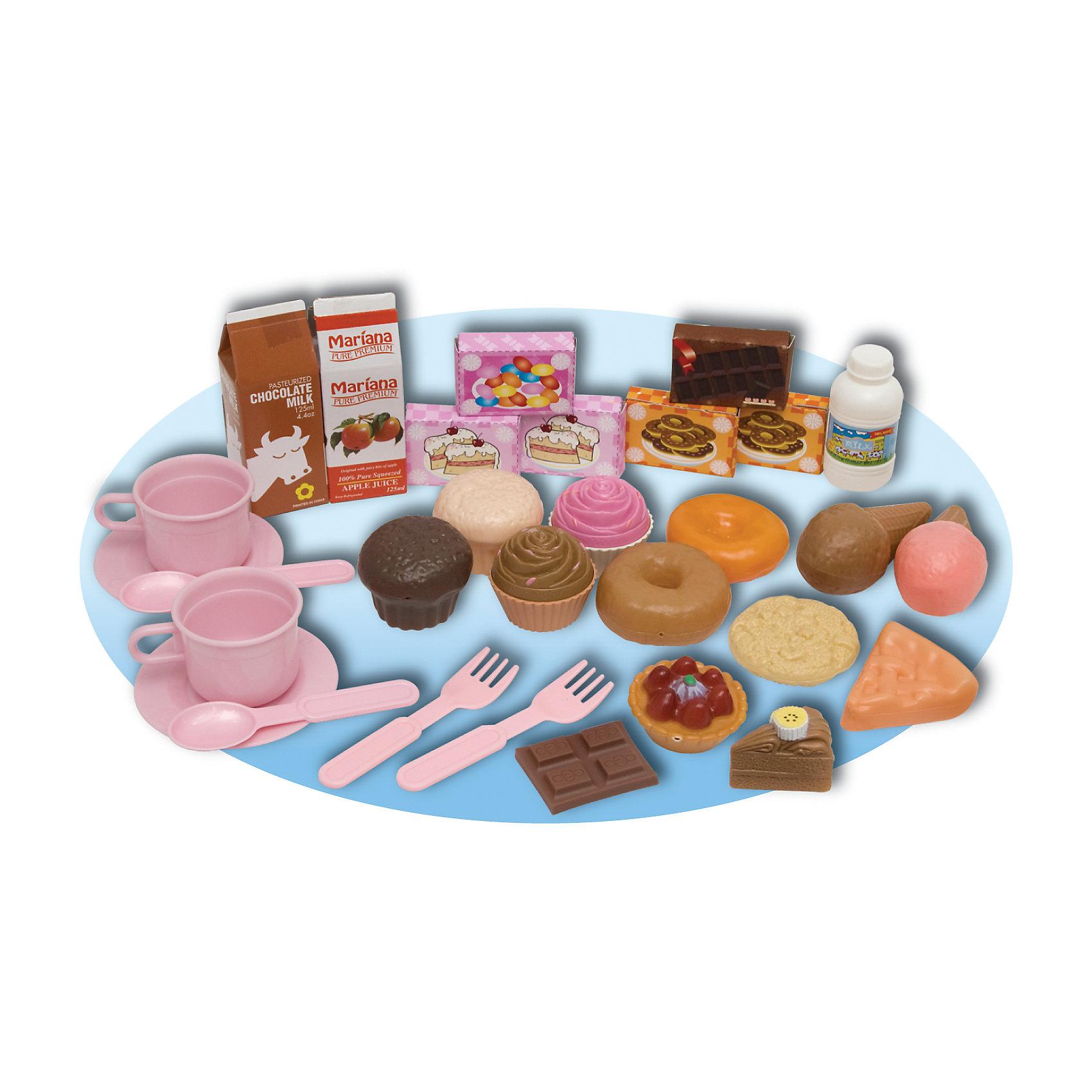 Игровой набор Приятное чаепитие, 30 шт., BoleyХарактеристики товара:<br><br>• 30 предметов<br>• размер упаковки: 32х30 x 5 см<br>• материал: пластик<br>• комплектация: кексы, пончики, пирожные, печенья, пакет с молоком, пакет с соком, посуда<br>• возраст: от трех лет<br>• страна бренда: США<br>• страна производства: Китай<br><br>Набор с большим количством предметов для игры в чаепитие - желанный подарок для девочки! Комплект очень качественно выполнен, отлично детализирован, благодаря множеству предметов в наборе с ним можно придумать множество игр! С таким комплектом девочка сможет весело и с пользой провести время, ведь чаепитие - одна из любимых дестких игр!<br>Подобные игры помогают девочкам развивать важные социальные навыки и способности, они активизируют мышление, логику, развивают мелкую моторику и воображение, помогает проработать сценарии взаимодействия с людьми. Изделие производится из качественных сертифицированных материалов, безопасных даже для самых маленьких.<br><br>Игровой набор Приятное чаепитие, 30 шт., от бренда Boley можно купить в нашем интернет-магазине.<br><br>Ширина мм: 320<br>Глубина мм: 300<br>Высота мм: 50<br>Вес г: 418<br>Возраст от месяцев: 36<br>Возраст до месяцев: 2147483647<br>Пол: Женский<br>Возраст: Детский<br>SKU: 5224451