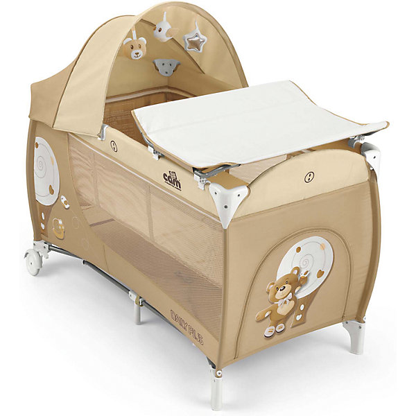 Манеж-кровать Daily Plus Медвежонок, CAM, кремовыйМанежи-кровати<br>Манеж-кровать Daily Plus - прекрасный вариант для малышей. Модель имеет 2 колесика со стопорами, удобный боковой карман и лаз на молнии, для уже подросших детей. Стенки из сетчатого материала обеспечивают хорошую вентиляцию и обзор, антимоскитная сетка  защитит кроху от насекомых. Съемный пеленальный столик надежно крепится на кровати. Капюшон снабжен тремя игрушками. Манеж-кровать быстро и компактно складывается, колесики позволяют также перемещать модель в сложенном виде. В производстве изделия использованы только экологичные, безопасные для детей материалы. <br><br>Дополнительная информация:<br><br>- Материал: текстиль, металл, пластик.<br>- Размер в разложенном виде: 127х66х109 см.<br>- Размер сложенном виде: 75х18х18 см.<br>- Максимальный вес ребенка: 15 кг.<br>- Удобные колесики.<br>- Большой боковой карман и три подвесные игрушки лаз-дверка на молнии.<br>- Сетчатые бортики.<br>- Комплектация: съемный пеленальный столик, антимоскитная сетка, съемный капюшон с игрушками, <br>мягкий матрасик, сумка для перевозки.<br><br>Манеж-кровать Daily Plus Медвежонок, CAM, кремовый можно купить в нашем магазине.<br>Ширина мм: 240; Глубина мм: 290; Высота мм: 490; Вес г: 14100; Возраст от месяцев: 0; Возраст до месяцев: 36; Пол: Унисекс; Возраст: Детский; SKU: 5225144;