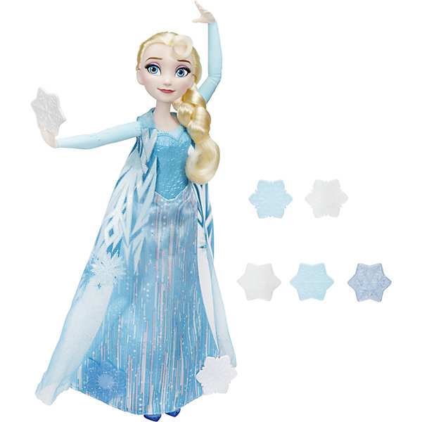 Эльза, запускающая снежинки рукой, Холодное СердцеПопулярные игрушки<br>Эльза, запускающая снежинки рукой, Холодное Сердце (Frozen).<br><br>Характеристика: <br><br>• Материал: пластик. <br>• Размер куклы: 29 см. <br>• В комплекте кукла в одежде, обувь, 8 снежинок. <br>• Отличная детализация. <br>• Голова, руки, ноги подвижные.<br>• Плащ снимается. <br>• Снежинка крепится к руке Эльзы.<br>• Можно украшать наряд Эльзы снежинками.<br><br>Очаровательная Эльза в невероятно красивом и оригинальном наряде обязательно понравится девочкам. Вложи в руку куклы снежинку и запустив воздух или укрась снежинками полупрозрачный плащ Эльзы.<br><br>Эльзу, запускающую снежинки рукой, Холодное Сердце (Frozen), можно купить в нашем интернет-магазине.<br>Ширина мм: 324; Глубина мм: 235; Высота мм: 66; Вес г: 269; Возраст от месяцев: 36; Возраст до месяцев: 84; Пол: Женский; Возраст: Детский; SKU: 5225690;
