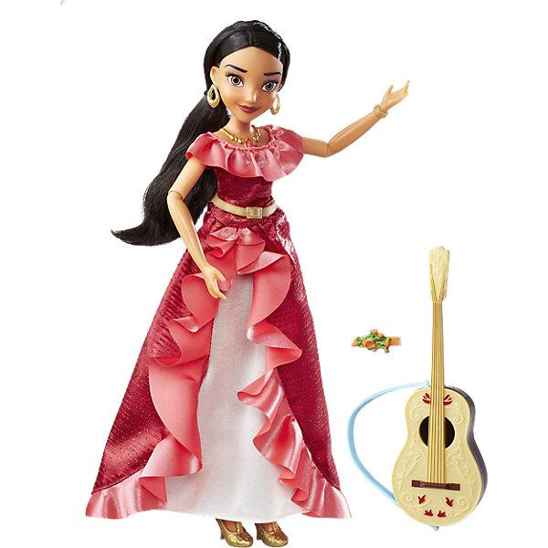 Кукла Hasbro Disney Princess Елена - принцесса Авалона, Поющая ЕленаКуклы модели<br>Характеристики товара:<br><br>• возраст: от 3 лет;<br>• материал: пластик, текстиль;<br>• в комплекте: кукла, гитара, наряд;<br>• тип батареек: 3 батарейки A76;<br>• наличие батареек: входят в комплект;<br>• размер упаковки: 33х23х6 см;<br>• вес упаковки: 288 гр.;<br>• страна производитель: Китай.<br><br>Кукла Hasbro Disney Princess «Поющая Елена» создана по мотивам известного мультсериала «Елена — принцесса из Авалора». У куклы карие глаза, длинные ресницы, темные густые волосы. В руках у Елены гитара.  Одета Елена в красное платье с золотистым поясом, а дополняют ее образ туфельки, большие сережки и необычный кулон. Если нажать на него, то кукла запоет песенку из мультфильма.<br><br>Куклу Hasbro Disney Princess «Поющая Елена» можно приобрести в нашем интернет-магазине.<br>Ширина мм: 320; Глубина мм: 231; Высота мм: 63; Вес г: 306; Возраст от месяцев: 36; Возраст до месяцев: 84; Пол: Женский; Возраст: Детский; SKU: 5225698;