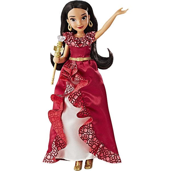 Кукла Hasbro Disney Princess Елена - принцесса Авалона, Елена и волшебный скипетрКуклы<br>Характеристики товара:<br><br>• возраст: от 3 лет;<br>• материал: пластик, текстиль;<br>• в комплекте: кукла, скипетр, наряд;<br>• тип батареек: 3 батарейки A76;<br>• наличие батареек: входят в комплект;<br>• размер упаковки: 33х23х7 см;<br>• вес упаковки: 255 гр.;<br>• страна производитель: Китай.<br><br>Кукла Hasbro Disney Princess «Елена и волшебный скипетр» создана по мотивам известного мультсериала «Елена — принцесса из Авалора». У куклы карие глаза, длинные ресницы, темные густые волосы. Одета Елена в красное платье с золотистым поясом, а дополняют ее образ туфельки и большие сережки. <br><br>В руках она держит волшебный скипетр, который активирует световые и звуковые эффекты. Если взмахнуть им, то он загорится, а Елена будет произносить фразы из мультфильма.<br><br>Куклу Hasbro Disney Princess «Елена и волшебный скипетр» можно приобрести в нашем интернет-магазине.<br>Ширина мм: 323; Глубина мм: 228; Высота мм: 73; Вес г: 300; Возраст от месяцев: 36; Возраст до месяцев: 84; Пол: Женский; Возраст: Детский; SKU: 5225699;