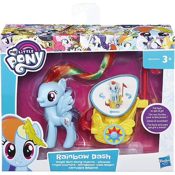 Пони в карете, в ассортименте, My little Pony, HasbroMy little Pony<br>Пони Рейнбоу Дэш и Флатршай в волшебных каретах готовятся к прибытию на бал. Помести карету на ровную поверхность, потяни ее назад и смотри как пони вращются, а карета едет вперед.<br>Ширина мм: 9999; Глубина мм: 9999; Высота мм: 9999; Вес г: 9999; Возраст от месяцев: 36; Возраст до месяцев: 84; Пол: Женский; Возраст: Детский; SKU: 5225713;