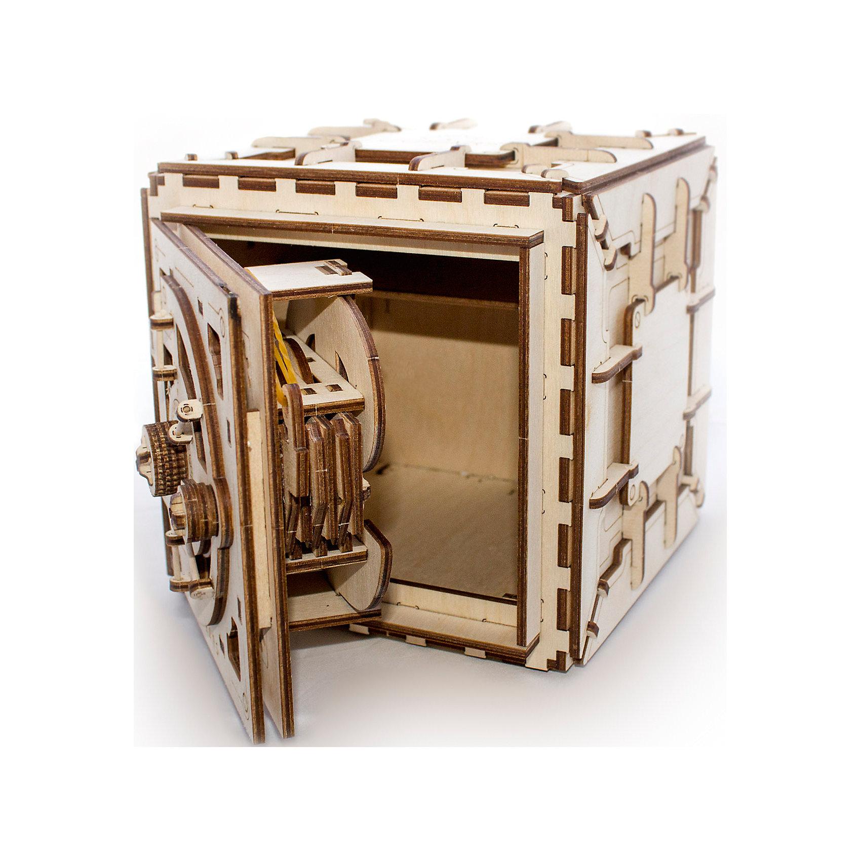 Сейф, UGEARSДеревянные конструкторы<br>Сейф от UGEARS это очень интересный способ надежно сохранить ваши лучшие воспоминания и теплые чувства. Это настоящий сейф с кодовым замком на 3 цифры. <br>А еще сейф это необычный подарок и развлечение. Например, в середину вы можете положить приз и подарить сейф в закрытом виде, предложив всей компании игру в медвежатников. Человек может попробовать открыть сейф, слушая звуки внутри или просто крутить ручку наугад. Это будет гарантированно весело и необычно. Главное, предварительно потренироваться самому и объяснить медвежатникам принципы открытия замка. Но в случае если интрига слишком затянется, то можно просто открыть код. <br> Правила открытия Сейфа: <br> Сначала обнулите кодовый замок: покрутите ручку сейфа против часовой (влево) на один-два оборота. Теперь можно набирать код: <br>1 - Проверните ручку против часовой (влево) до первой цифры от 1 до 9. Остановитесь на ней. <br>2 - Теперь крутите ручку по часовой (вправо) до цифры ноль. После прохождения нуля продолжайте крутить ручку вправо до второй цифры кода от 1 до 9. Остановитесь на ней. <br>3 - Снова крутите ручку против часовой (влево) до третьей цифры кода. <br> Если комбинация верна на третьей цифре сейф щелкнет и откроется сам. <br> Модель для самостоятельной сборки без клея.<br><br>Размер модели в готовом виде: 196*185*176 мм<br>Внутреннее пространство сейфа: В*Ш*Г 155*140*105 мм<br>Размер упаковки 370*170*35 мм<br>Количество деталей - 179 шт.<br>Расчетное время сборки: 6-7 часов<br><br>Ширина мм: 375<br>Глубина мм: 170<br>Высота мм: 35<br>Вес г: 1327<br>Возраст от месяцев: 168<br>Возраст до месяцев: 192<br>Пол: Унисекс<br>Возраст: Детский<br>SKU: 5226405