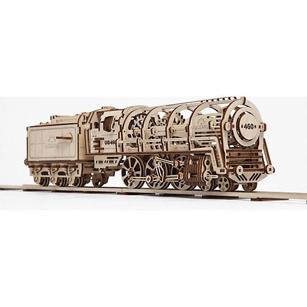 Локомотив с тендером, UGEARSДеревянные конструкторы<br>Локомотив с тендером «UGEARS 460» вобрал в себя все технические решения примененные в предыдущих моделях. Своим экстравагантным видом со многими шестернями внутри, он олицетворяет весь период инженерной мысли 19 века. Времени, когда передовые страны соревновались в том, чей локомотив мощнее, больше и солиднее. <br>Эта модель очень слаженная, и приятная в управлении. Каждый, кто берет в руки собранный паровоз неизменно приходит в удивление от неординарности и продуманности сборки.<br>Чтобы показать, как работает паровоз сверху на кабине нужно переключить рычаг управления в одно из трех положений. В нейтральном положении на холостом ходу можно покатить модель и посмотреть как движутся поршни и дышла на колесах. В положении «вперед» или «назад» включаются соответствующие храповики на большом резиномоторе из 12 резинок. Заводить модель можно рукояткой которая расположена за кабиной.<br>Установив паровоз на ровную поверхность или на рельсы самое время легким щелчком подсоединить тендер. Тендер надежно зафиксируется.  Для удобного отсоединения предусмотрен отдельный рычаг возле сцепки.<br>Все готово к запуску. Теперь можно отпустить систему, нажав на рычаг в виде форточки, выходящий из окна машиниста. Локомотив начнет набирать скорость.<br><br>Модель для самостоятельной сборки без клея.<br><br>Размер локомотива: 315*100*125мм<br>Размер тендера: 160*90*115мм<br>Размер упаковки: 37*17*4см<br>Количество деталей: 443<br>Расчетное время сборки: 10-12 часов<br><br>Ширина мм: 385<br>Глубина мм: 172<br>Высота мм: 43<br>Вес г: 1080<br>Возраст от месяцев: 168<br>Возраст до месяцев: 2147483647<br>Пол: Мужской<br>Возраст: Детский<br>SKU: 5226406