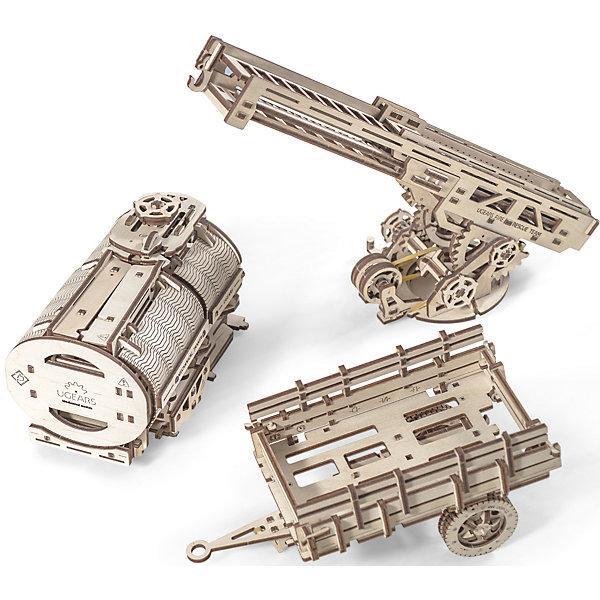 Дополнение к грузовику UGM-11, UGEARSДеревянные модели<br>Дополнение к грузовику UGM-11, UGEARS - комплект расширений для модели Грузовик UGM-11. Позволяет превратить грузовик в пожарную машину, цистерну или автопоезд. <br><br>Цистерна - состоит из уникального механизма открывания. Модель спроектирована так, что внутрь свободно помещается стандартная банка объемом 0,33 л. Покрутив ручку на крыше бочки, части конструкции открываются в стороны, и банка подается немного вперед.<br>Лестница - имеет несколько элементов управления. Нажав несколько раз рычаг, вы можете поднять лестницу вверх. Рукояткой проворачивайте основание лестницы вправо или влево. Специальный храповик фиксирует выбранное положение. Покрутив вентиль, выдвигайте все три секции лестницы вперед. На конце лестницы есть крючок, чтобы использовать ее в качестве подъемного крана. Как и в большом прототипе, у пожарной машины UGEARS есть дополнительная маленькая лестница. Такая лесенка цепляется на основание большой лестницы, чтобы можно было взобраться наверх.<br>Прицеп: имеет очень реалистичные рессоры, на которых покачивается кузов прицепа во время езды. Под дышлом есть подставка, чтобы модель могла стоять автономно.<br><br>Размер упаковки: 37*14*3см<br>Количество деталей: 322<br>Расчетное время сборки: 10-11 часов<br><br>Ширина мм: 375<br>Глубина мм: 170<br>Высота мм: 35<br>Вес г: 1230<br>Возраст от месяцев: 168<br>Возраст до месяцев: 192<br>Пол: Унисекс<br>Возраст: Детский<br>SKU: 5226413