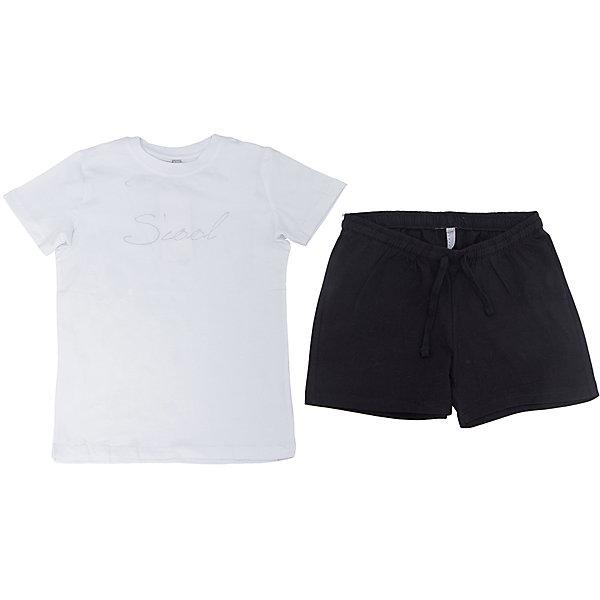 Комплект: футболка и шорты для девочки ScoolКомплекты<br>Комплект: футболка и шорты для девочки Scool<br><br>Характеристики:<br><br>• Цвет шорт: черный<br>• Цвет футболки: белый<br>• Материал: 92% хлопок, 8% эластан<br><br>Комплект из футболки и шорт для девочки идеально подойдет для занятий спортом, летних прогулок или посещения физкультуры в школе. Классический покрой и популярная цветовая гамма делает этот комплект незаменимым. Футболка украшена принтом. Шорты держатся на мягкой резинке. Кроме этого их можно дополнительно отрегулировать шнурком. На шортах есть два кармана.<br><br>Комплект: футболка и шорты для девочки Scool можно купить в нашем интернет-магазине.<br><br>Ширина мм: 191<br>Глубина мм: 10<br>Высота мм: 175<br>Вес г: 273<br>Цвет: белый<br>Возраст от месяцев: 108<br>Возраст до месяцев: 120<br>Пол: Женский<br>Возраст: Детский<br>Размер: 134,128,122,140,146,164,158,152<br>SKU: 5227680