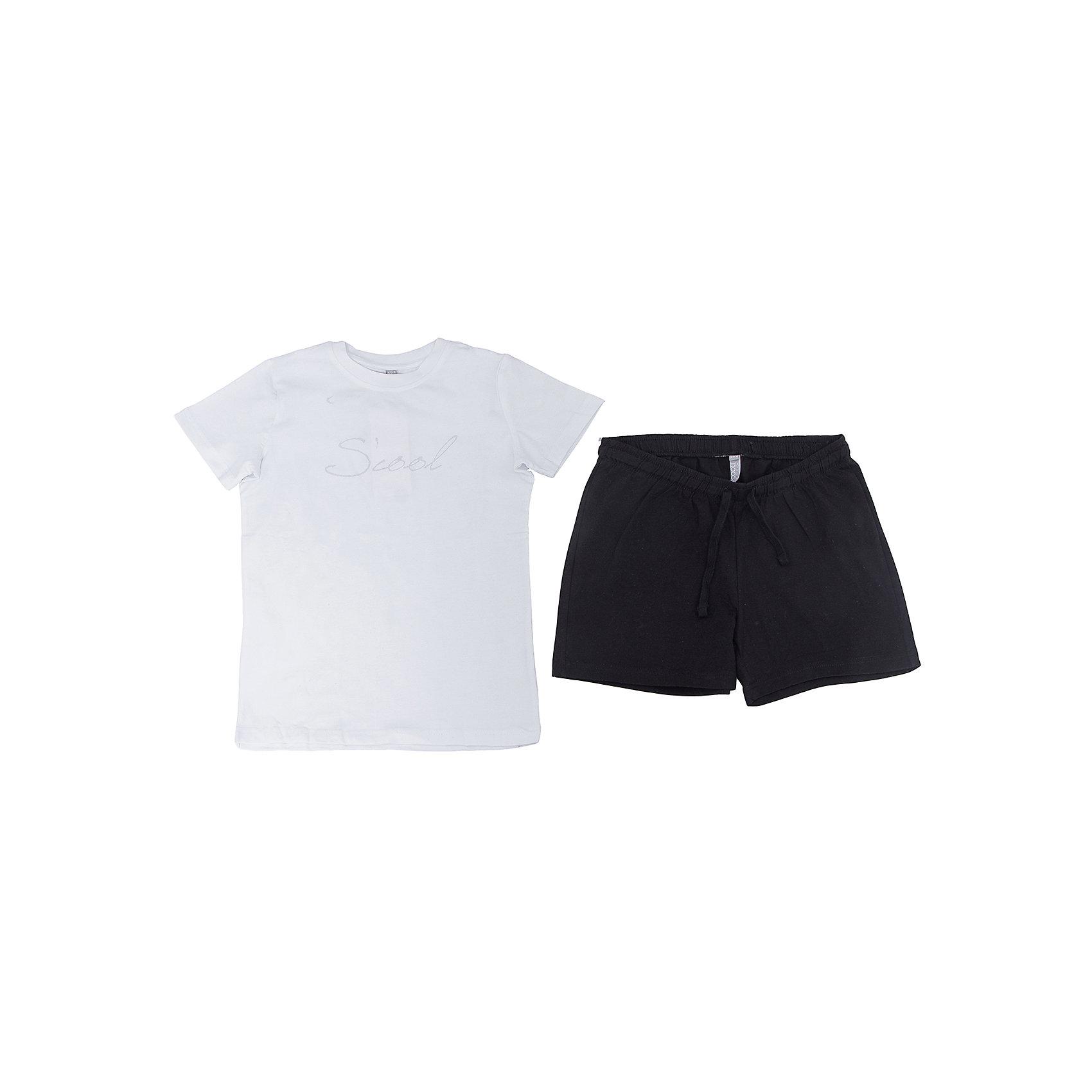 Комплект: футболка и шорты для девочки ScoolКомплект: футболка и шорты для девочки Scool<br><br>Характеристики:<br><br>• Цвет шорт: черный<br>• Цвет футболки: белый<br>• Материал: 92% хлопок, 8% эластан<br><br>Комплект из футболки и шорт для девочки идеально подойдет для занятий спортом, летних прогулок или посещения физкультуры в школе. Классический покрой и популярная цветовая гамма делает этот комплект незаменимым. Футболка украшена принтом. Шорты держатся на мягкой резинке. Кроме этого их можно дополнительно отрегулировать шнурком. На шортах есть два кармана.<br><br>Комплект: футболка и шорты для девочки Scool можно купить в нашем интернет-магазине.<br><br>Ширина мм: 191<br>Глубина мм: 10<br>Высота мм: 175<br>Вес г: 273<br>Цвет: разноцветный<br>Возраст от месяцев: 108<br>Возраст до месяцев: 120<br>Пол: Женский<br>Возраст: Детский<br>Размер: 146,140,134,128,122,164,158,152<br>SKU: 5227680