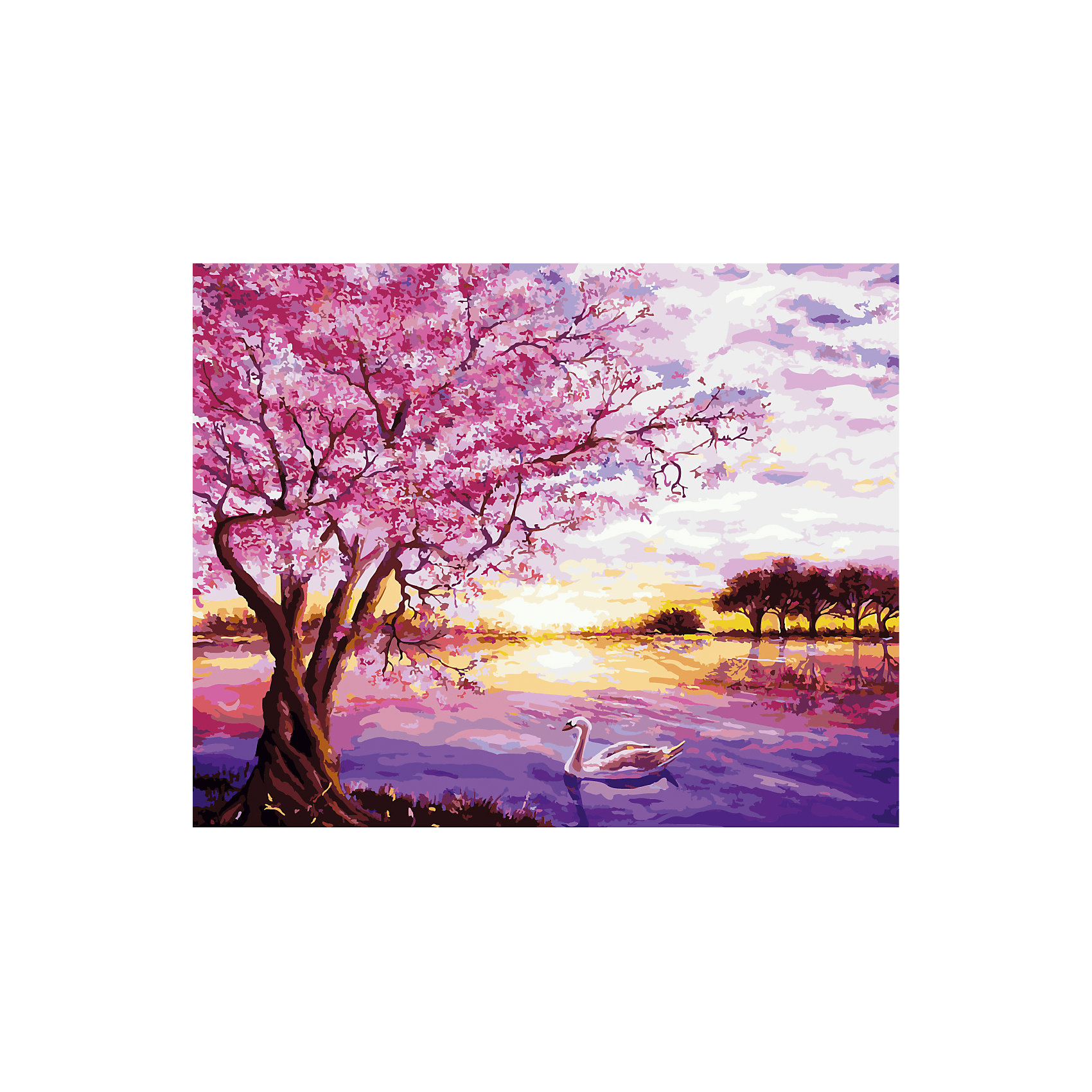 TUKZAR Роспись по номерам Рассвет на озере 40*50 см tukzar роспись по номерам тигры 40 50 см