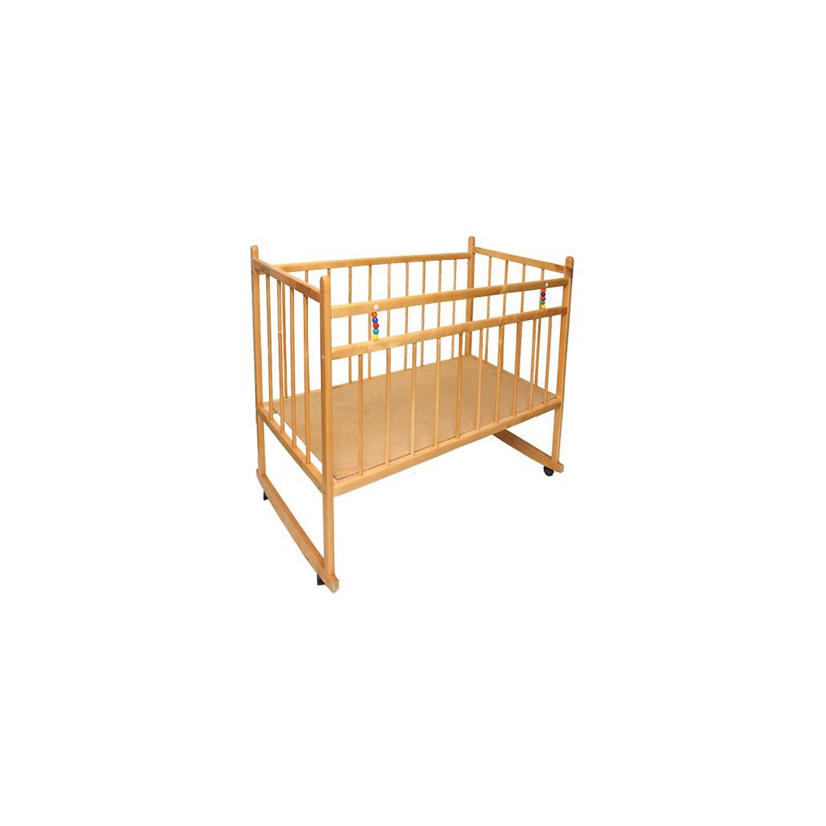 Кроватка-качалка Мишутка 13, светлаяКроватка-качалка Мишутка 13, светлая.<br><br>Характеристики:<br><br>- Размер: 120x60 см.<br>- Материал: массив березы<br>- Покрытие: лак<br>- Цвет: светлый<br>- Вес: 13 кг.<br><br>Детская кроватка «Мишутка 13» предназначена для малышей с рождения до 4-х лет. Кроватка оснащена 4-мя колесиками для перемещения по комнате, есть полозья для качания, которые позволяют использовать кроватку в качестве качалки (при условии демонтажа колесиков). Внутреннее пространство кроватки имеет стандартные размеры, что позволяет без труда подобрать матрас. Высота дна кроватки имеет одно положение. Дно расположено на оптимальной высоте. Ребенок с ростом до 100 см будет себя чувствовать очень комфортно и уютно. Реечные стенки обеспечат безопасность малыша. Они установлены на безопасном расстоянии друг от друга, так, что ребенок не сможет застрять или просунуть голову. У кроватки отсутствуют острые углы, что уменьшает риск получения травмы. С помощью металлического подъемника с кнопкой планка на передней стенке опускается, что обеспечивает удобный доступ к малышу. Передняя стенка не снимается. Кроватка «Мишутка 13» выполнена из массива березы, покрыта абсолютно нетоксичным и безопасным для здоровья малышей лаком.<br><br>Кроватку-качалку Мишутка 13, светлую можно купить в нашем интернет-магазине.<br><br>Ширина мм: 1215<br>Глубина мм: 690<br>Высота мм: 135<br>Вес г: 13600<br>Возраст от месяцев: 0<br>Возраст до месяцев: 36<br>Пол: Унисекс<br>Возраст: Детский<br>SKU: 5228800