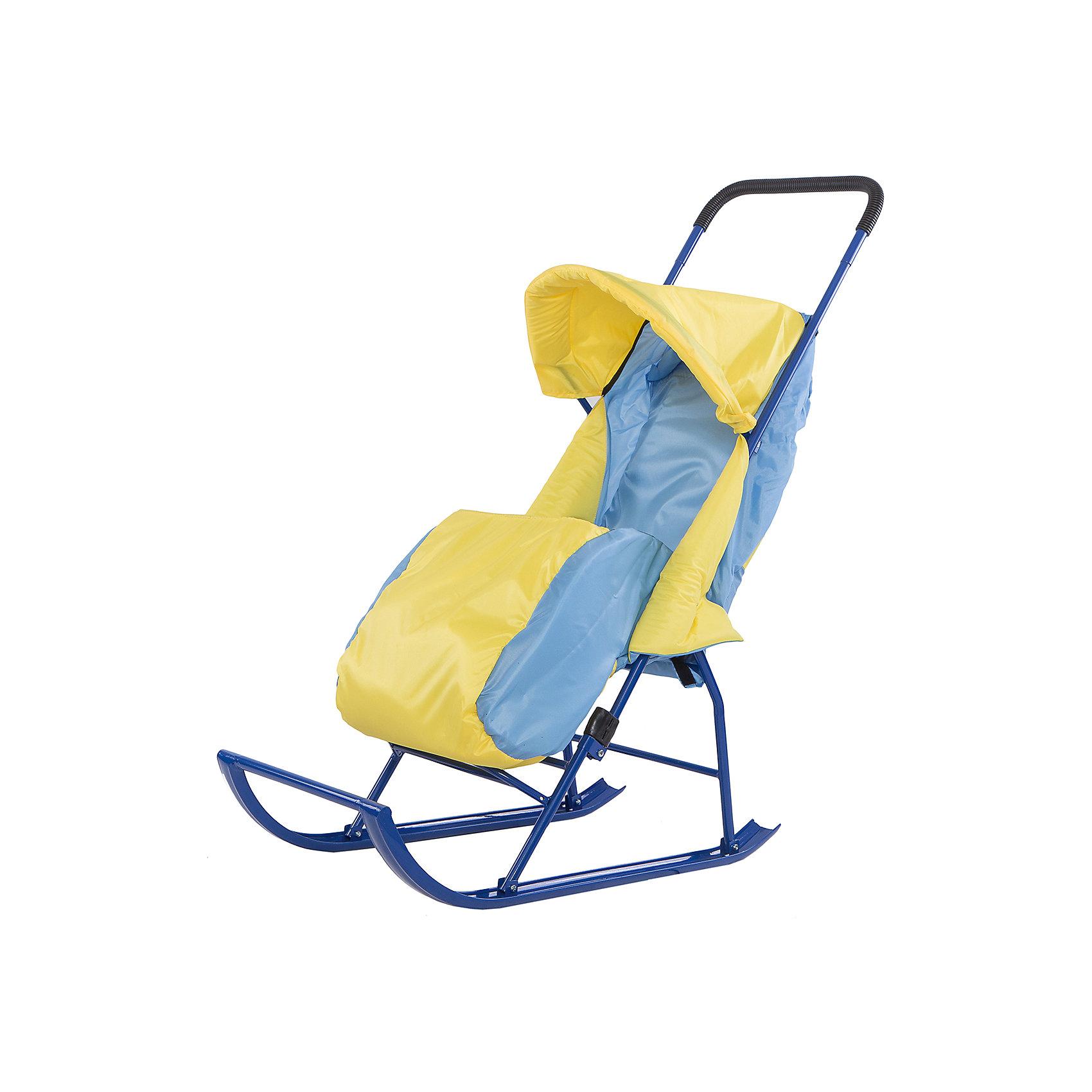 Малышок Санки-коляска Малышок 1, Galaxy, желтый/голубой санки galaxy мишутка 1 универсал красные
