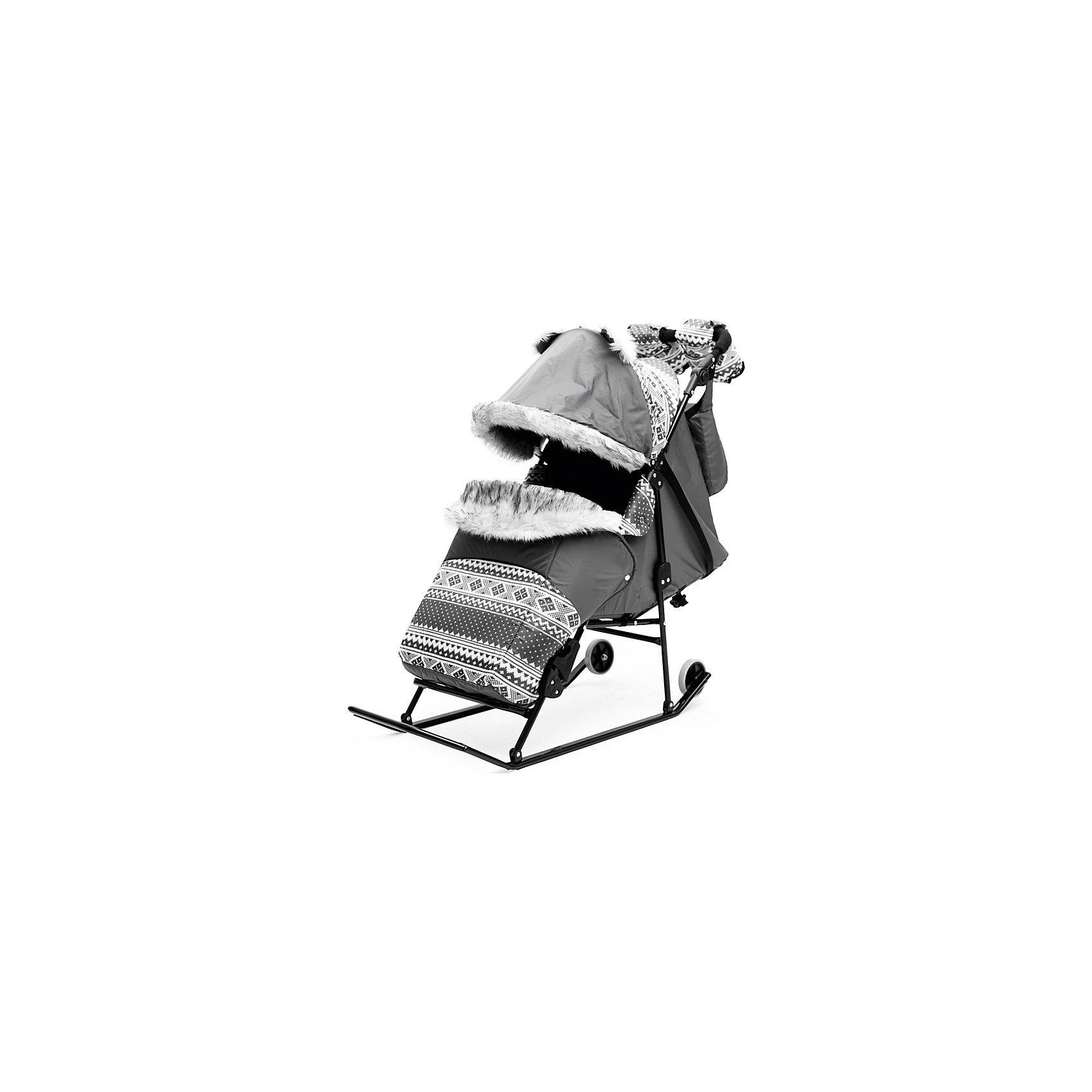Скандинавия Санки-коляска Скандинавия 2УВ Авто, черная рама, ABC Academy, серый abc academy санки коляска скандинавия 2ум большие колеса белая рама abc academy серый