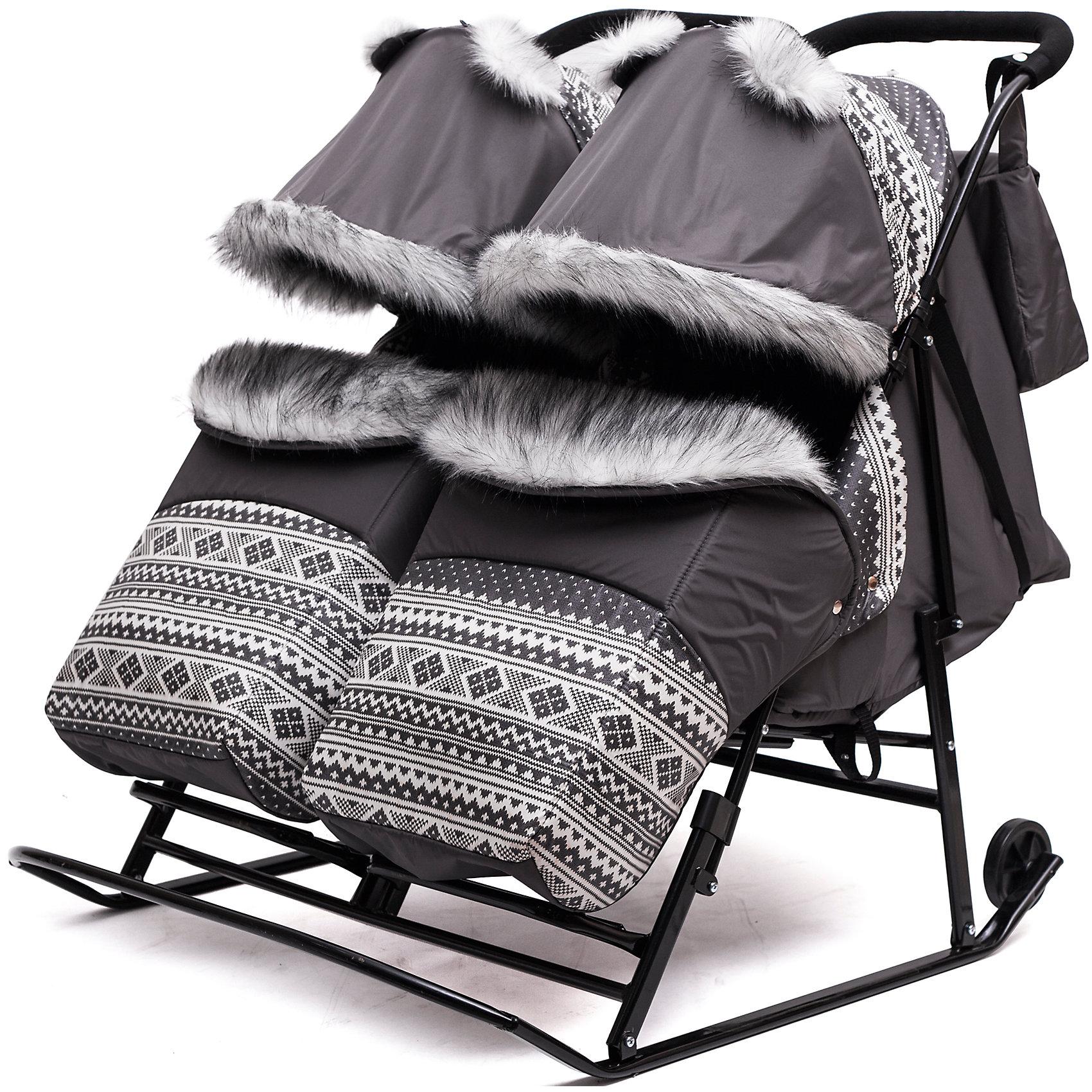 Скандинавия Санки-коляска для двойни Скандинавия 2УВ Твин, черная рама, ABC Academy, серый санки коляска abc academy скандинавия 1718 blue dark grey