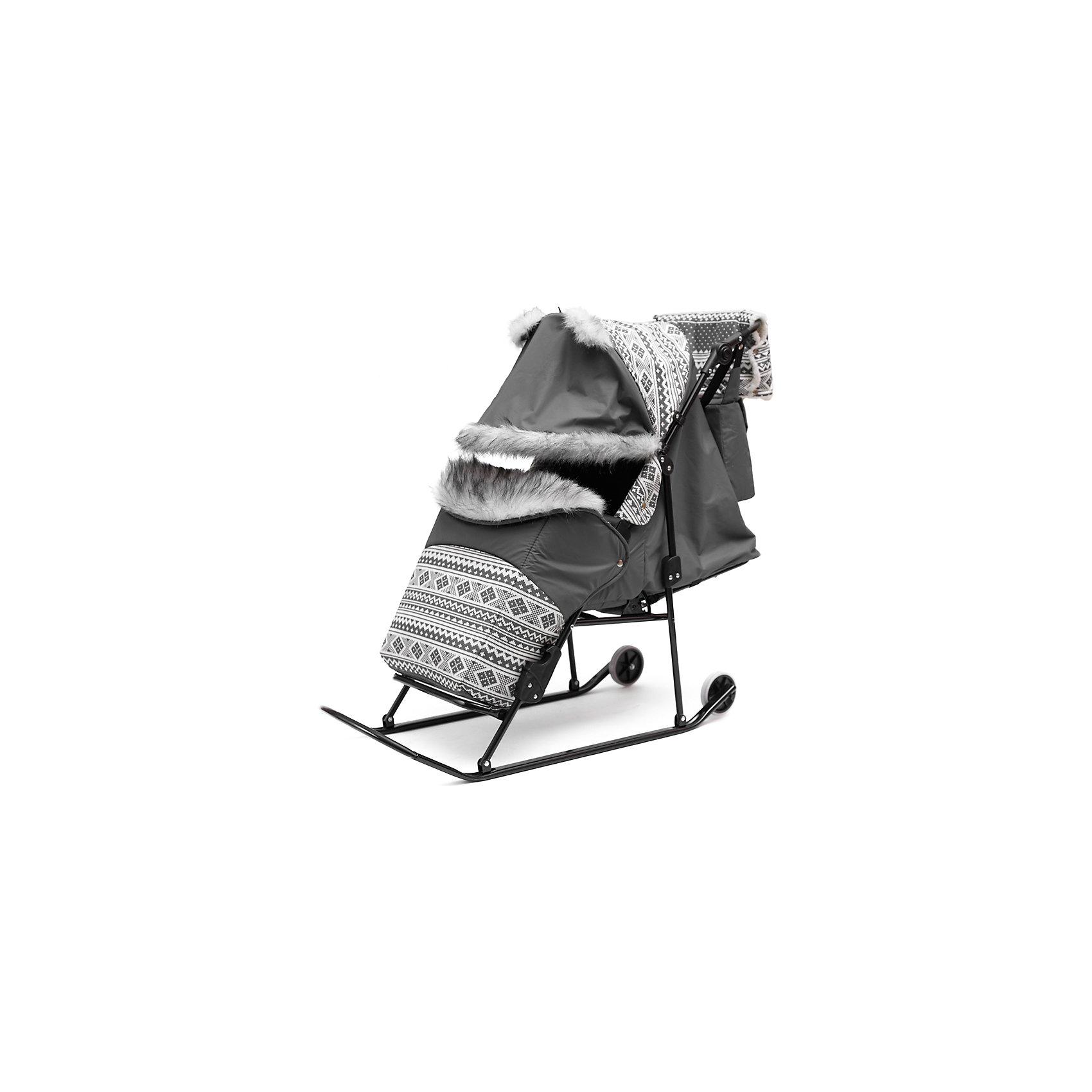 Скандинавия Санки-коляска Скандинавия 2УМ Авто, черная рама, ABC Academy, серый abc academy санки коляска скандинавия 2ум большие колеса белая рама abc academy серый