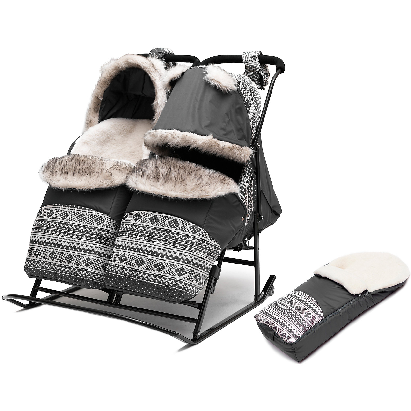 Скандинавия Санки-коляска для двойни Скандинавия 3УВ Экстра Твин, черная рама, ABC Academy, серый цена